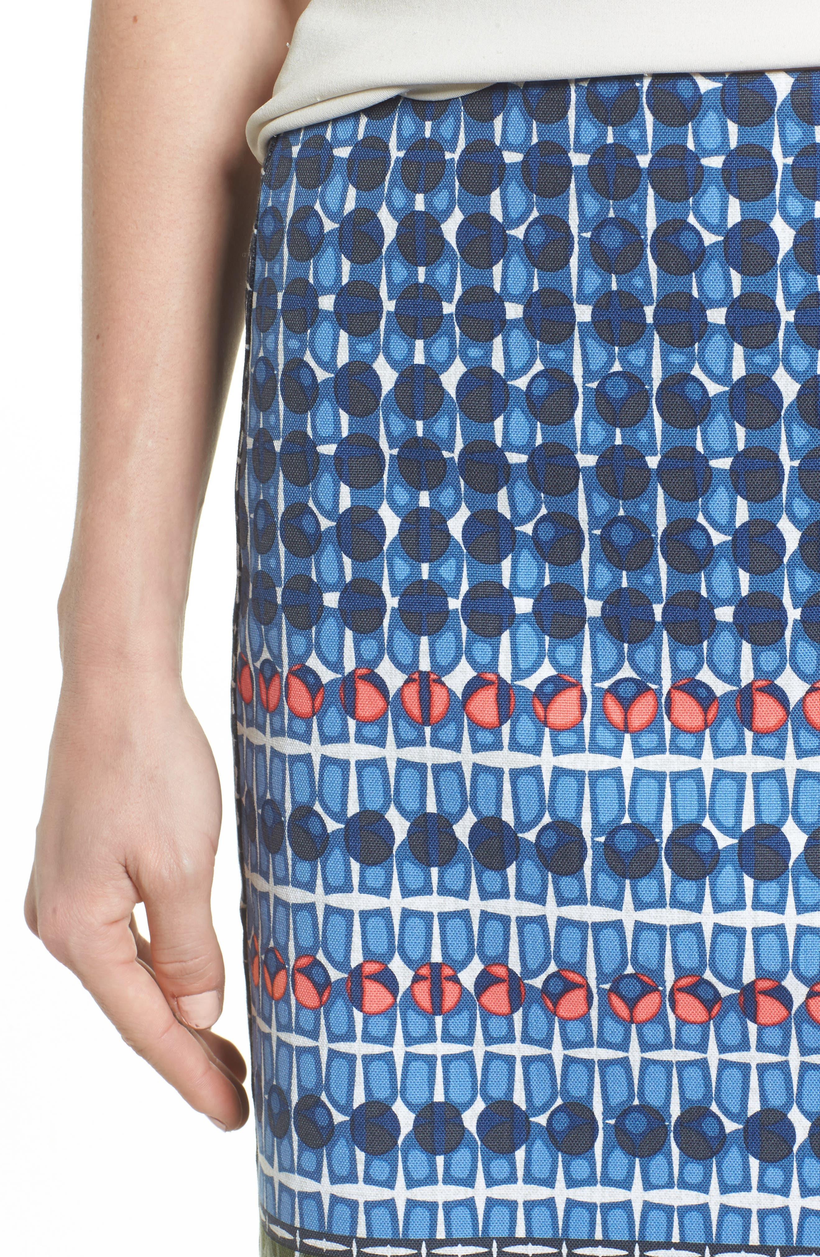 NIC + ZOE Tile Pencil Skirt,                             Alternate thumbnail 4, color,                             490