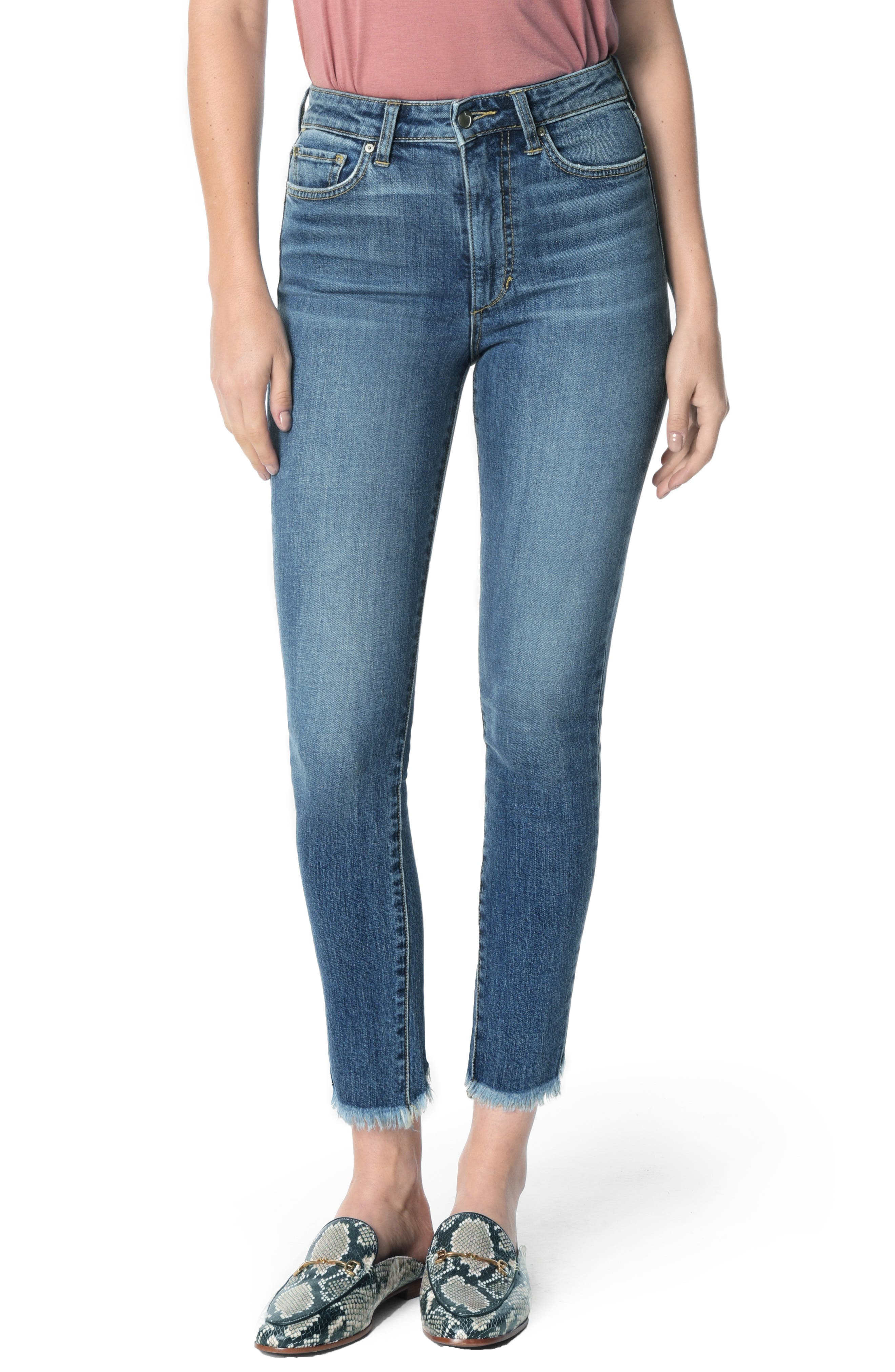 Charlie High Waist Frayed Split Hem Ankle Skinny Jeans,                         Main,                         color, TARAJI