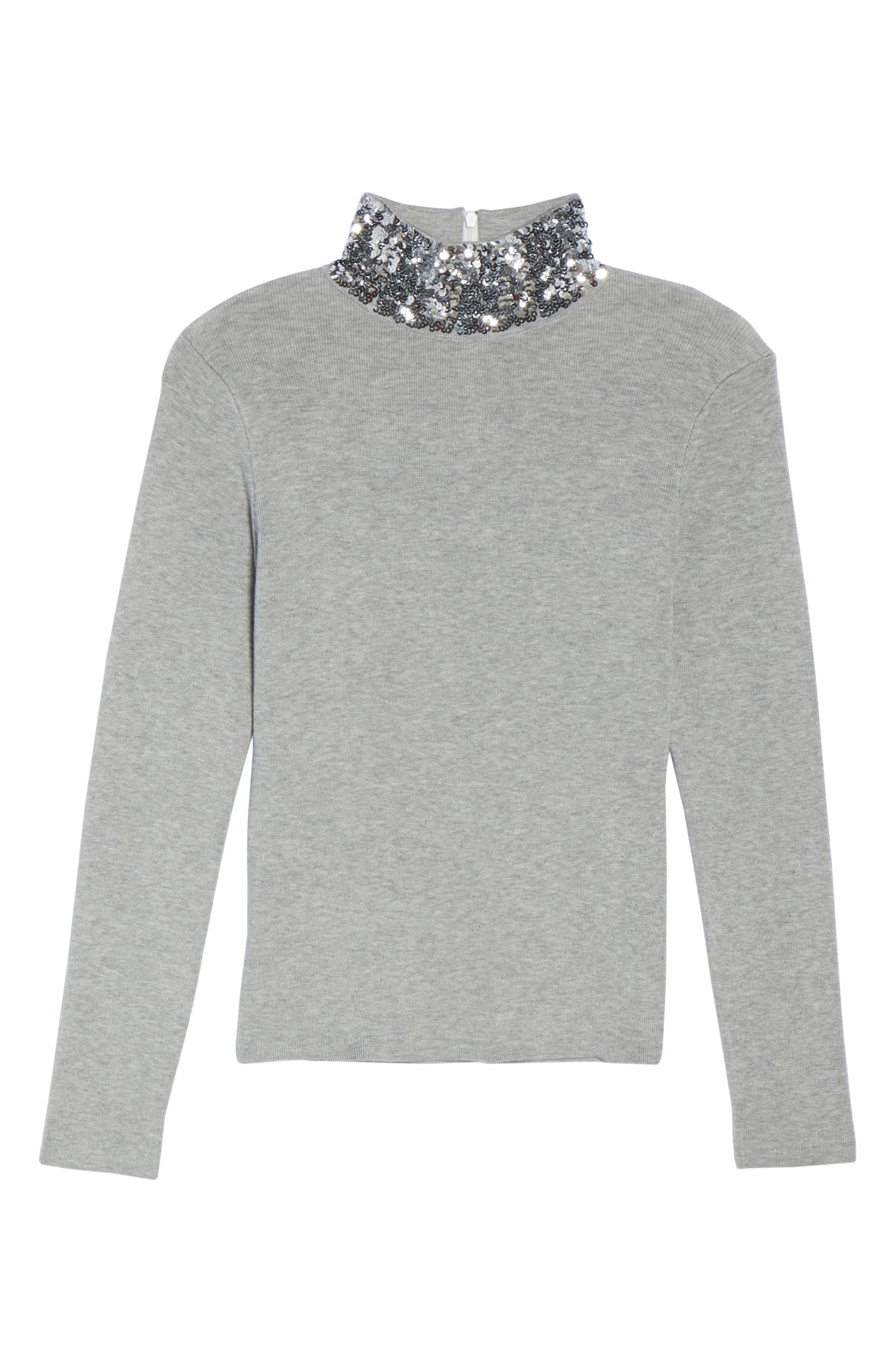 Sequin Mock Neck Sweater,                             Alternate thumbnail 6, color,                             030
