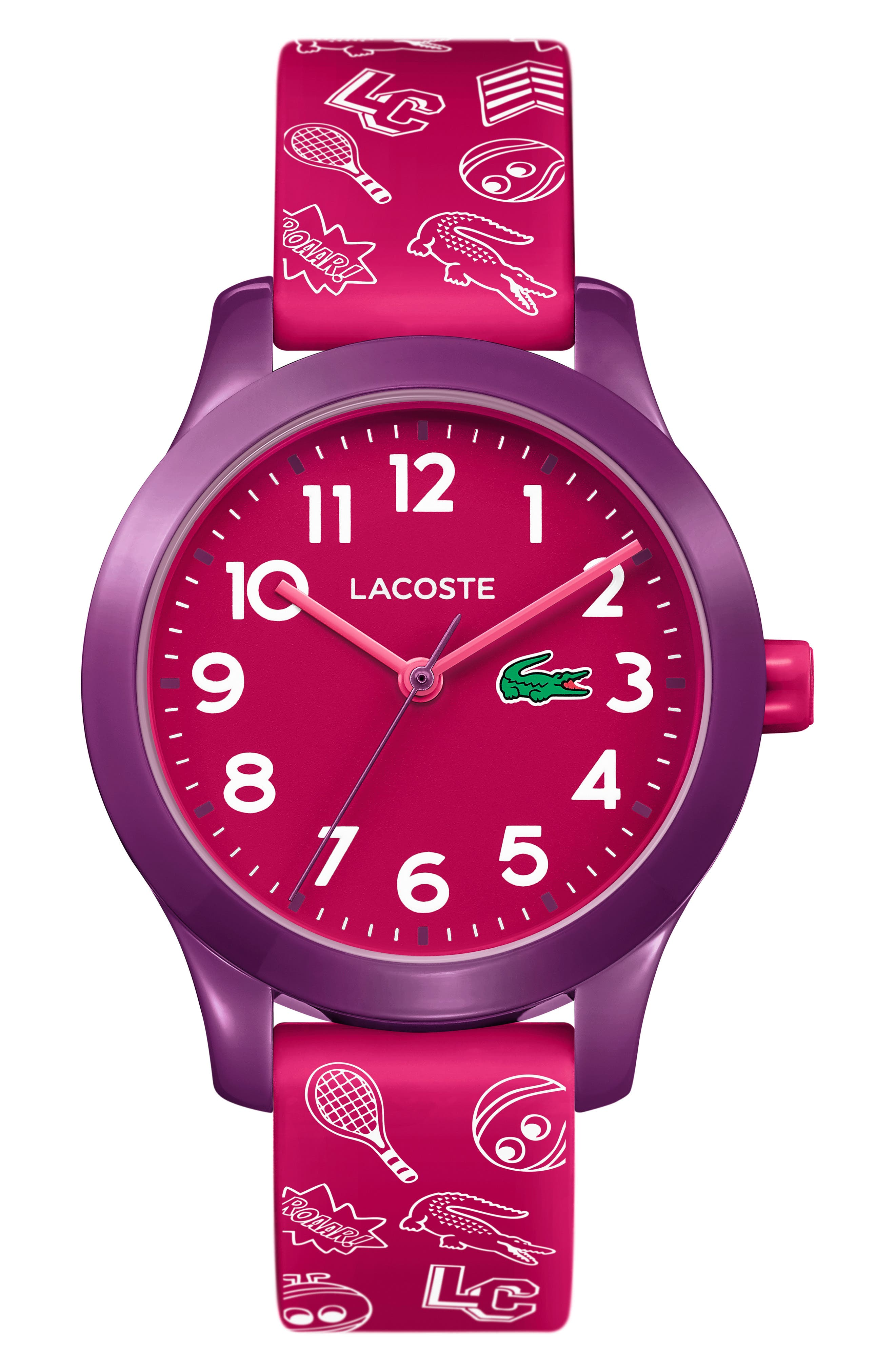 12.12 Rubber Strap Watch, 32mm,                             Main thumbnail 1, color,                             PINK