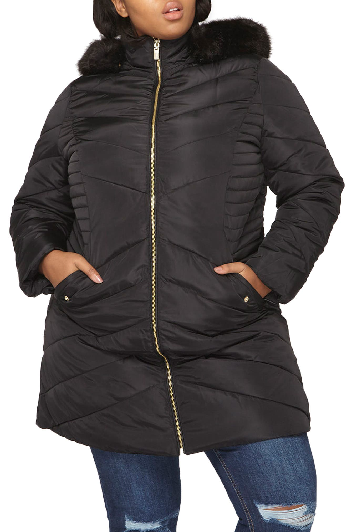 Faux Fur Trim Hooded Puffer Coat,                             Main thumbnail 1, color,                             001