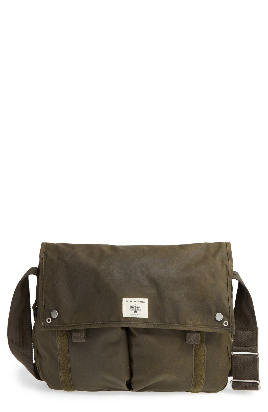 BARBOUR Waxed Canvas Messenger Bag, Main, color, 340