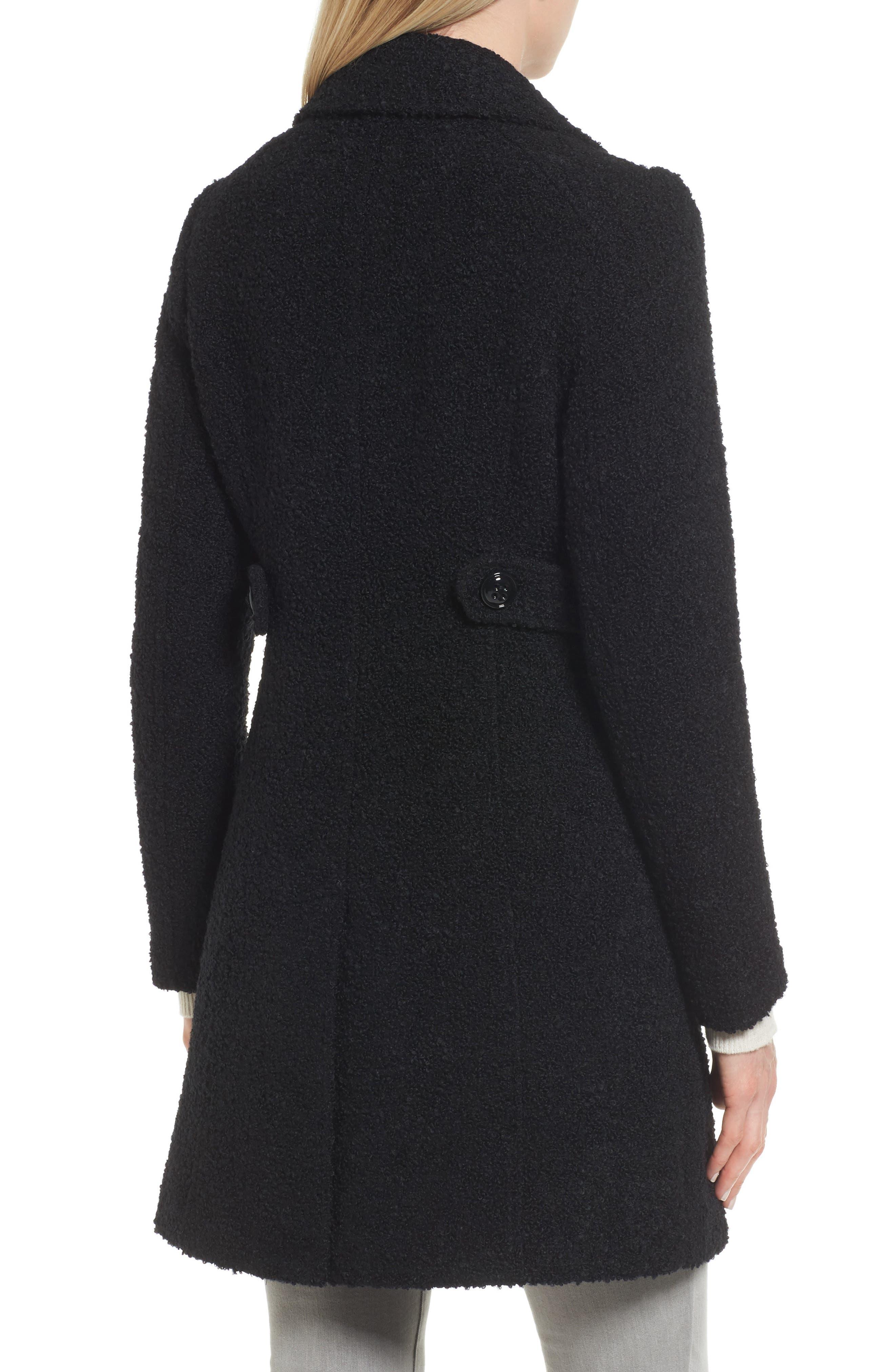 Bouclé Coat,                             Alternate thumbnail 2, color,                             BLACK