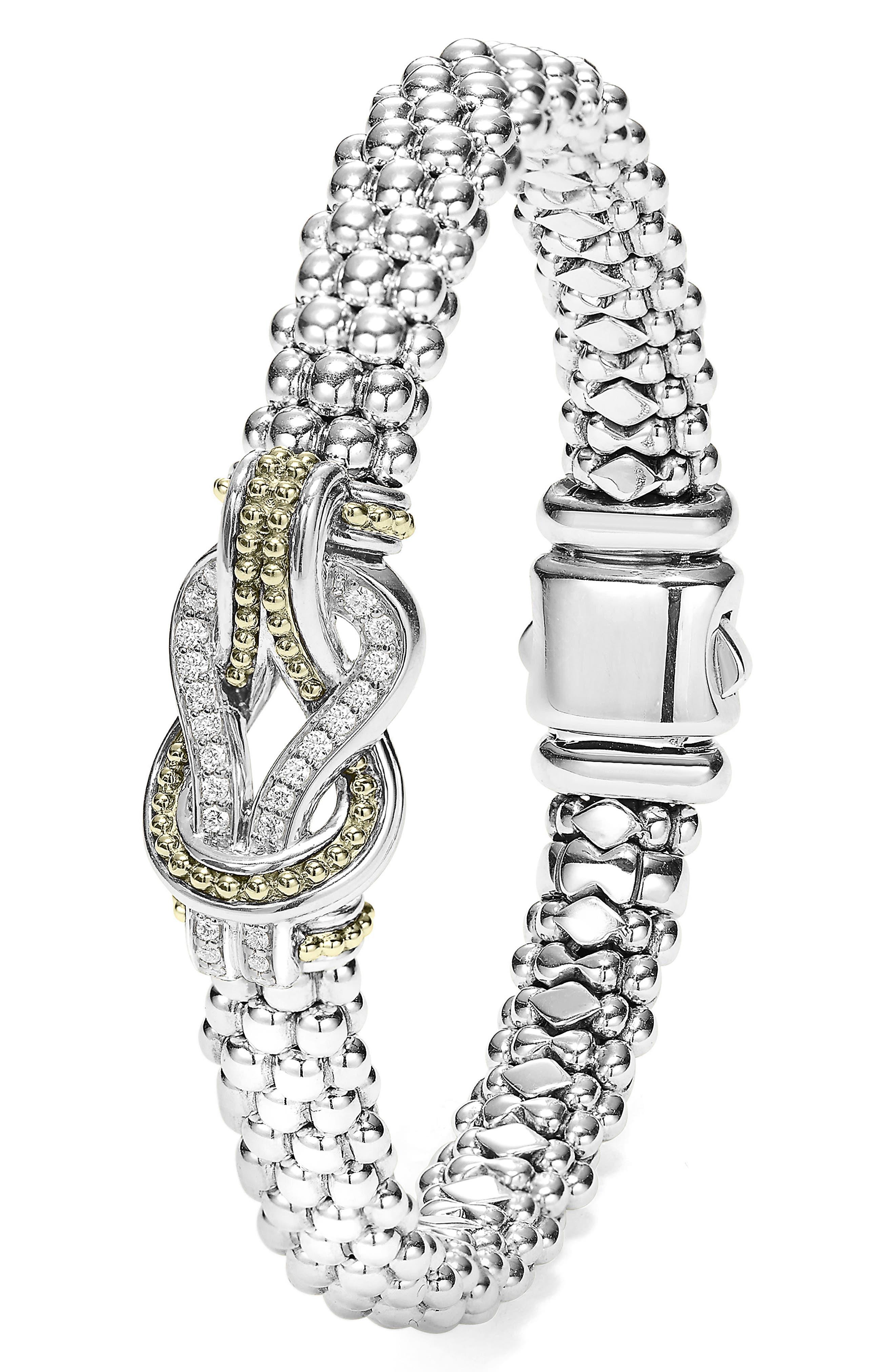 Caviar Newport Diamond Station Bracelet,                             Alternate thumbnail 2, color,                             SILVER/ GOLD
