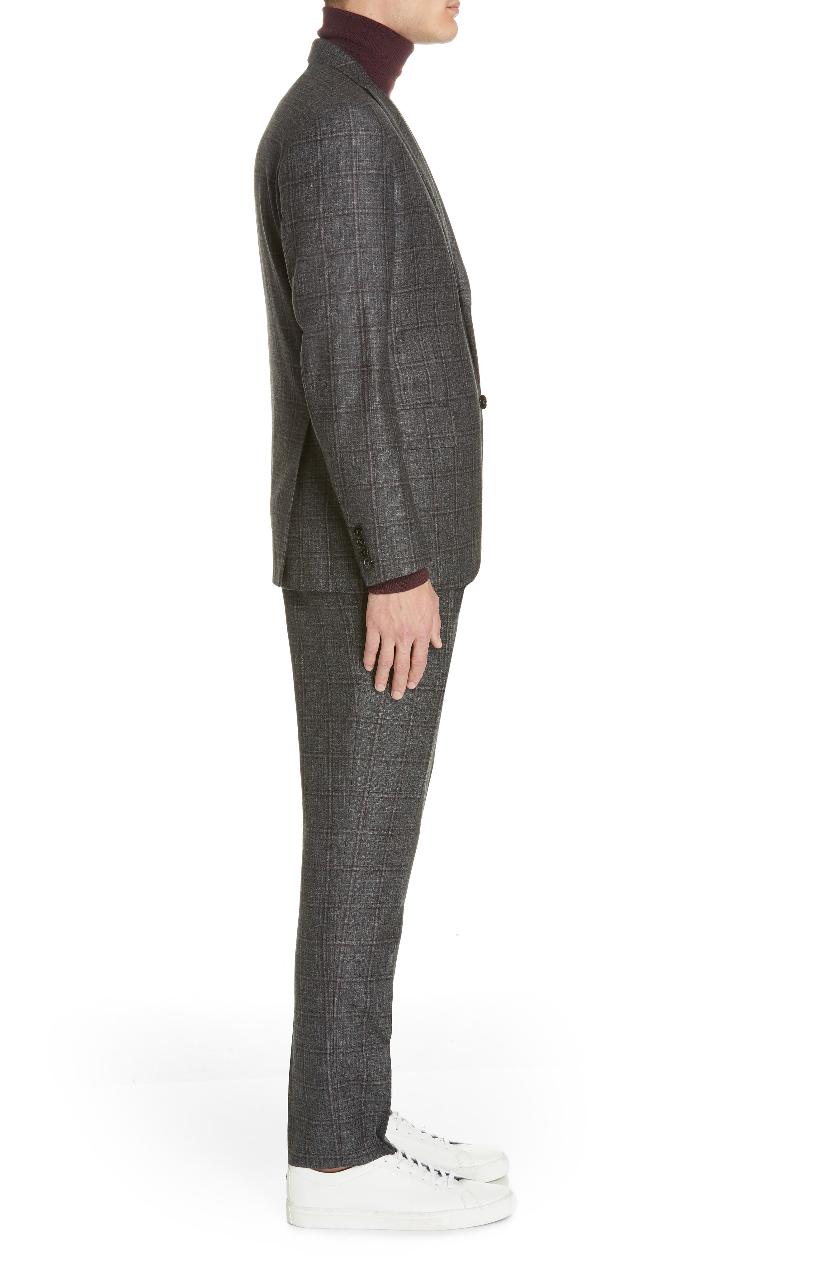 Trim Fit Plaid Wool Suit,                             Alternate thumbnail 3, color,                             GREY/ BURGUNDY