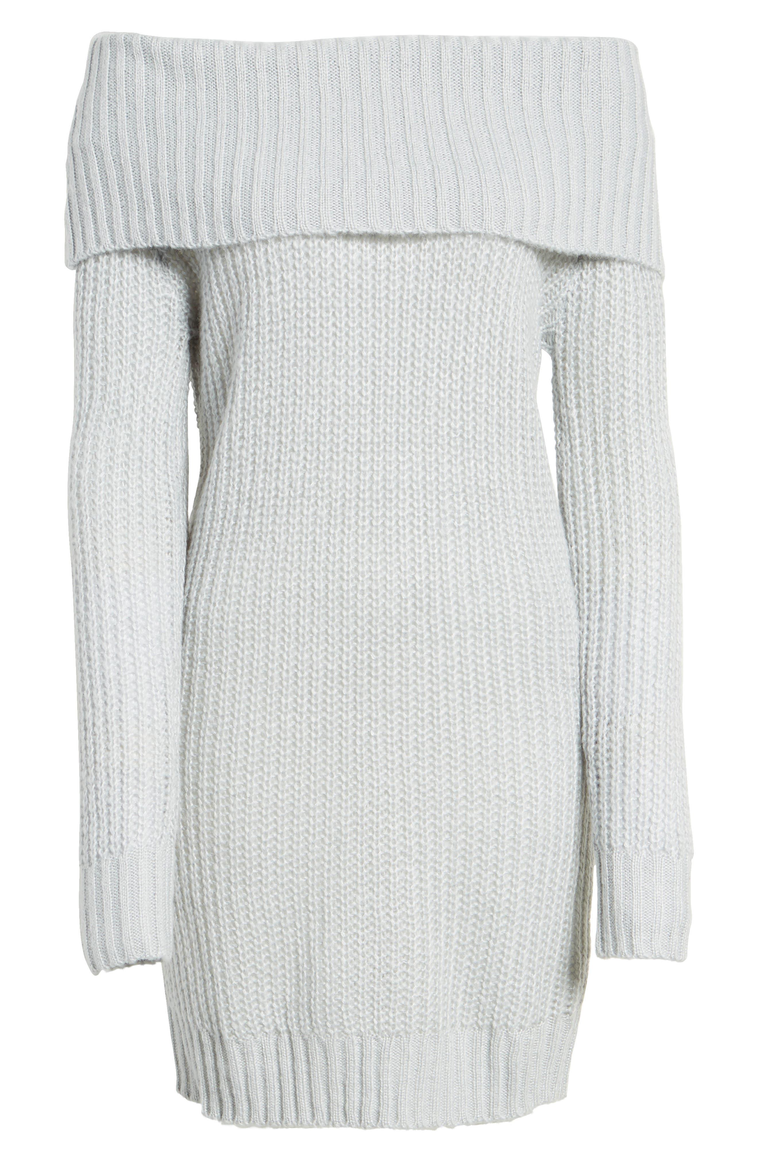 Foldover Off the Shoulder Sweater Dress,                             Alternate thumbnail 22, color,