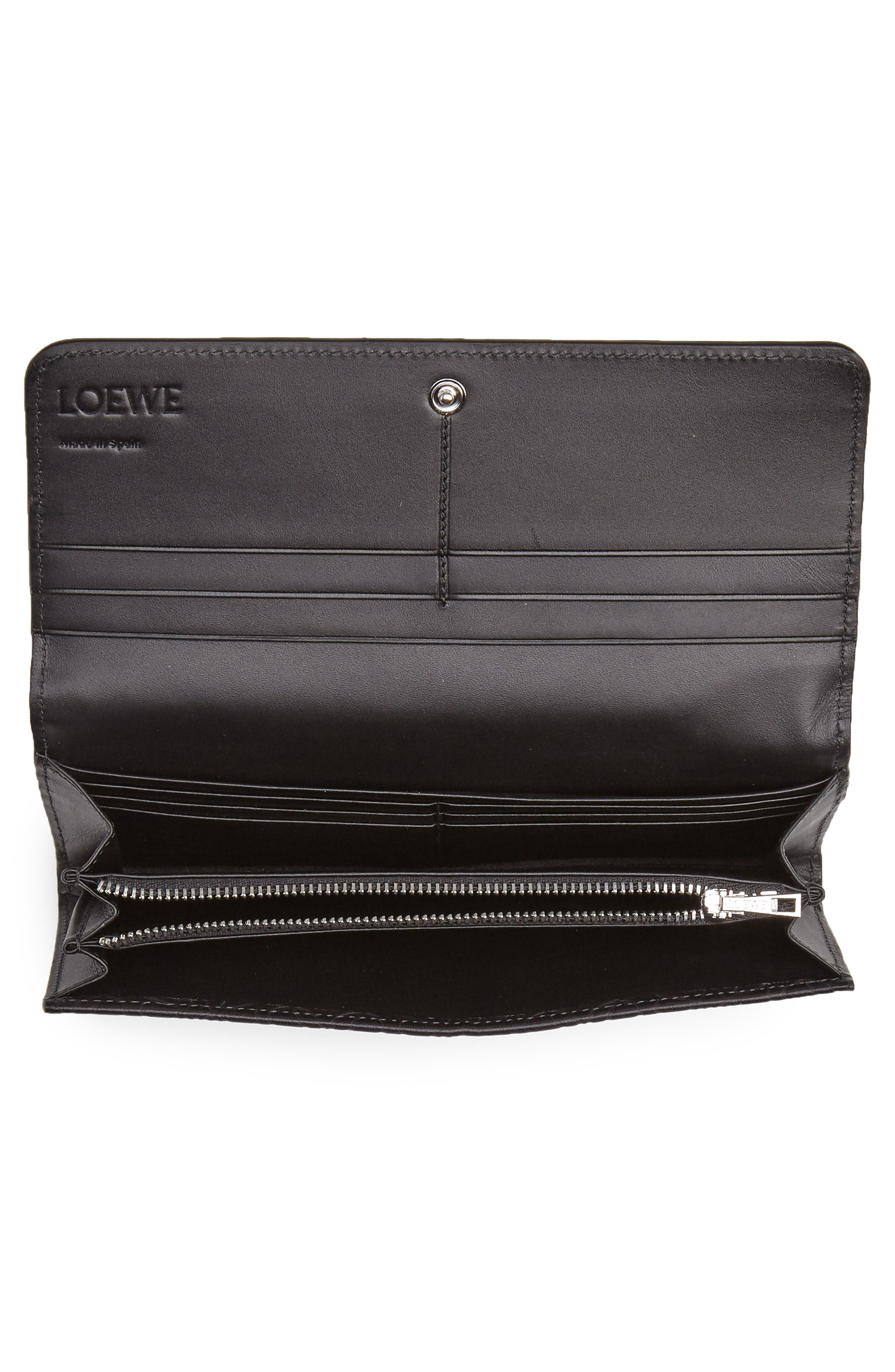 Continental Leather Zip Wallet,                             Alternate thumbnail 2, color,                             BLACK