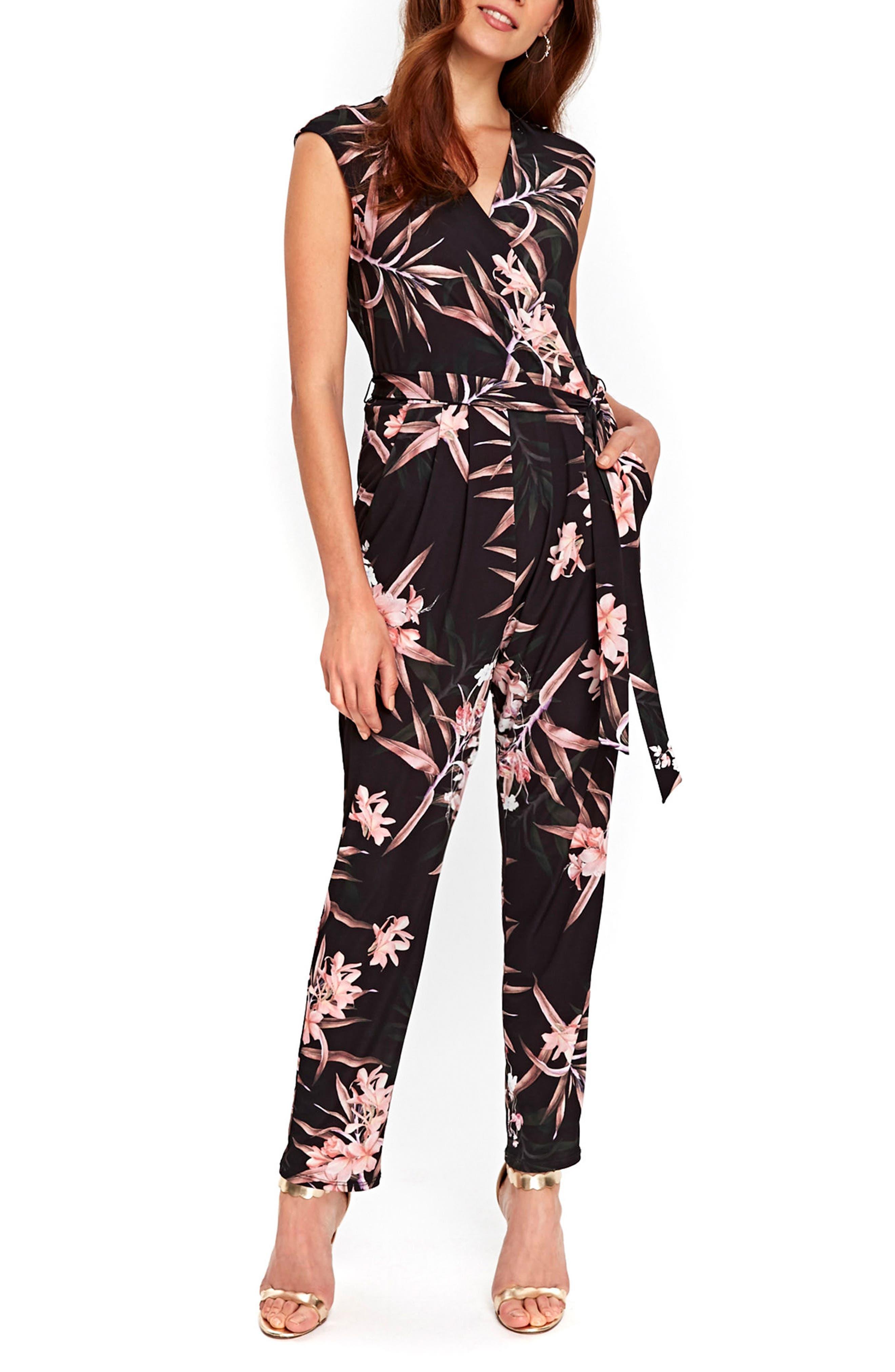 Fern Floral Jersey Jumpsuit,                             Main thumbnail 1, color,                             001