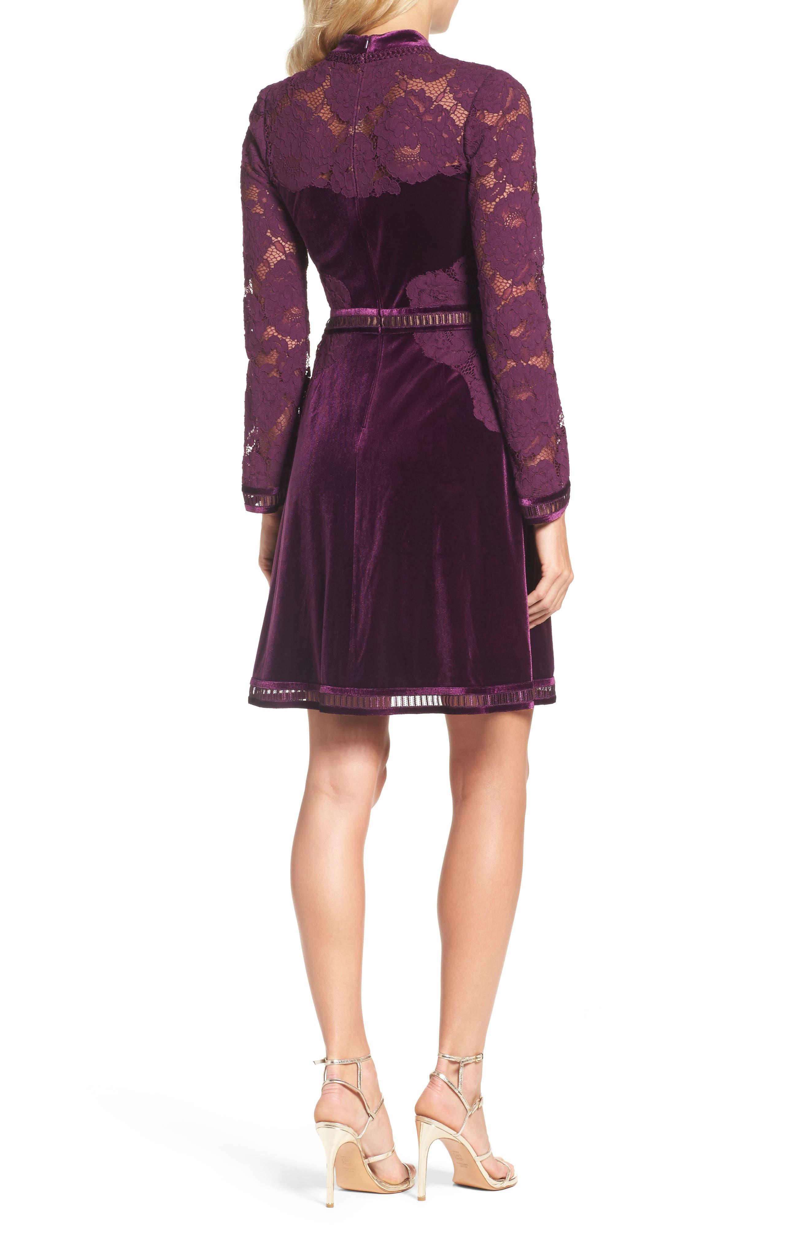 High Neck Lace & Velvet Cocktail Dress,                             Alternate thumbnail 2, color,                             572