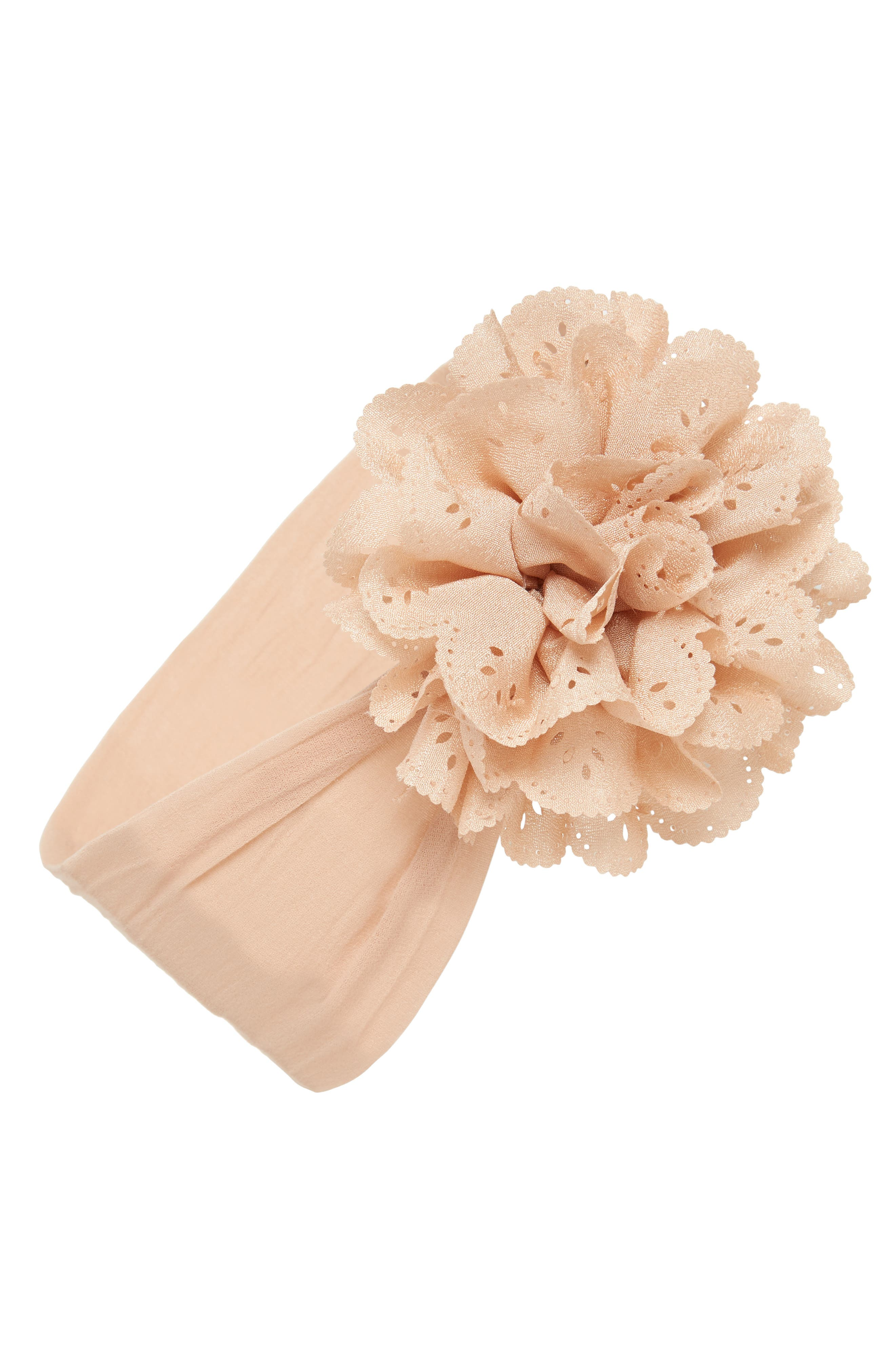 Eyelet Flower Head Wrap,                             Main thumbnail 1, color,                             TAN