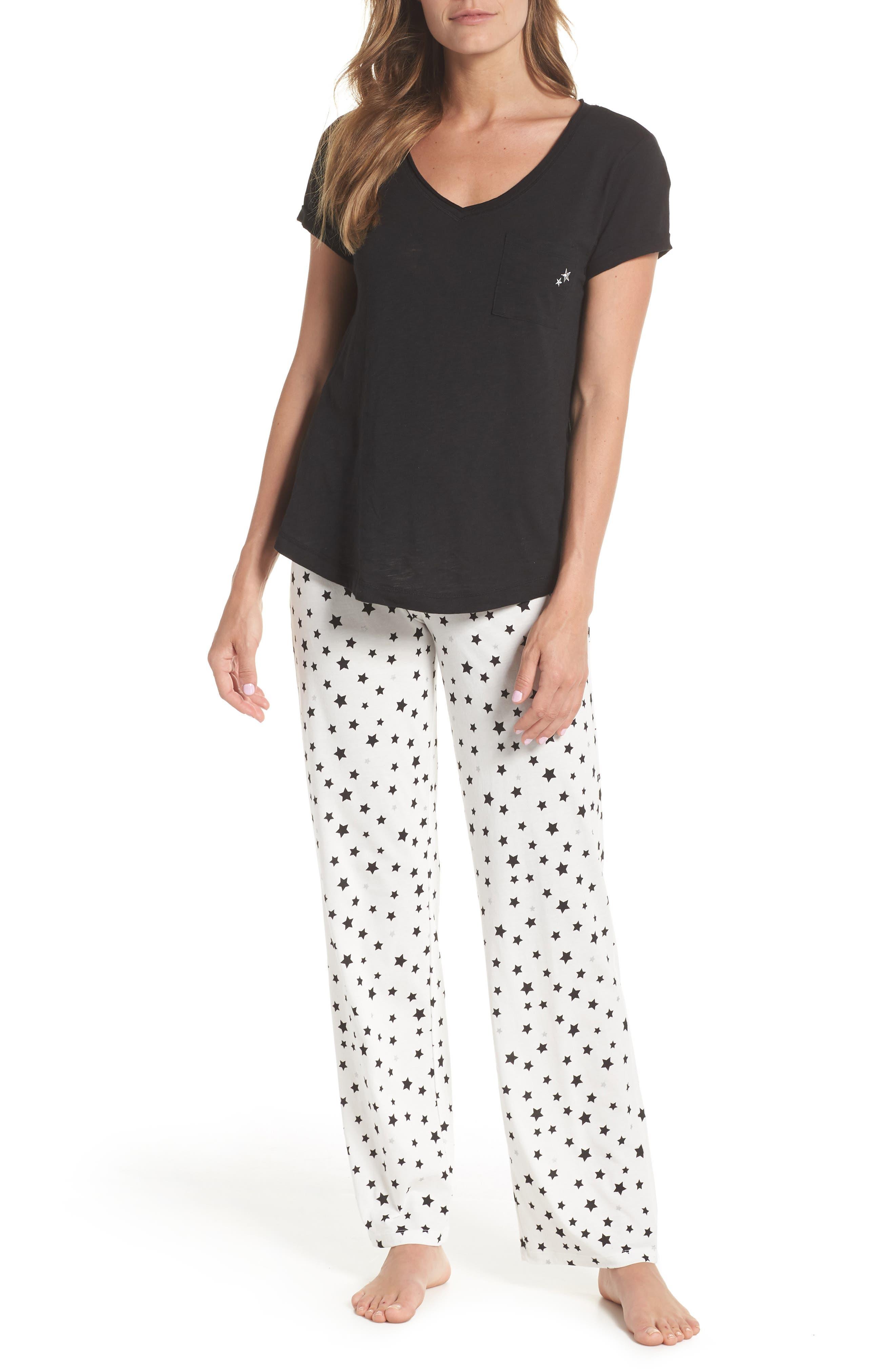 I Heart Sleep Pajamas,                             Main thumbnail 1, color,                             BLACK