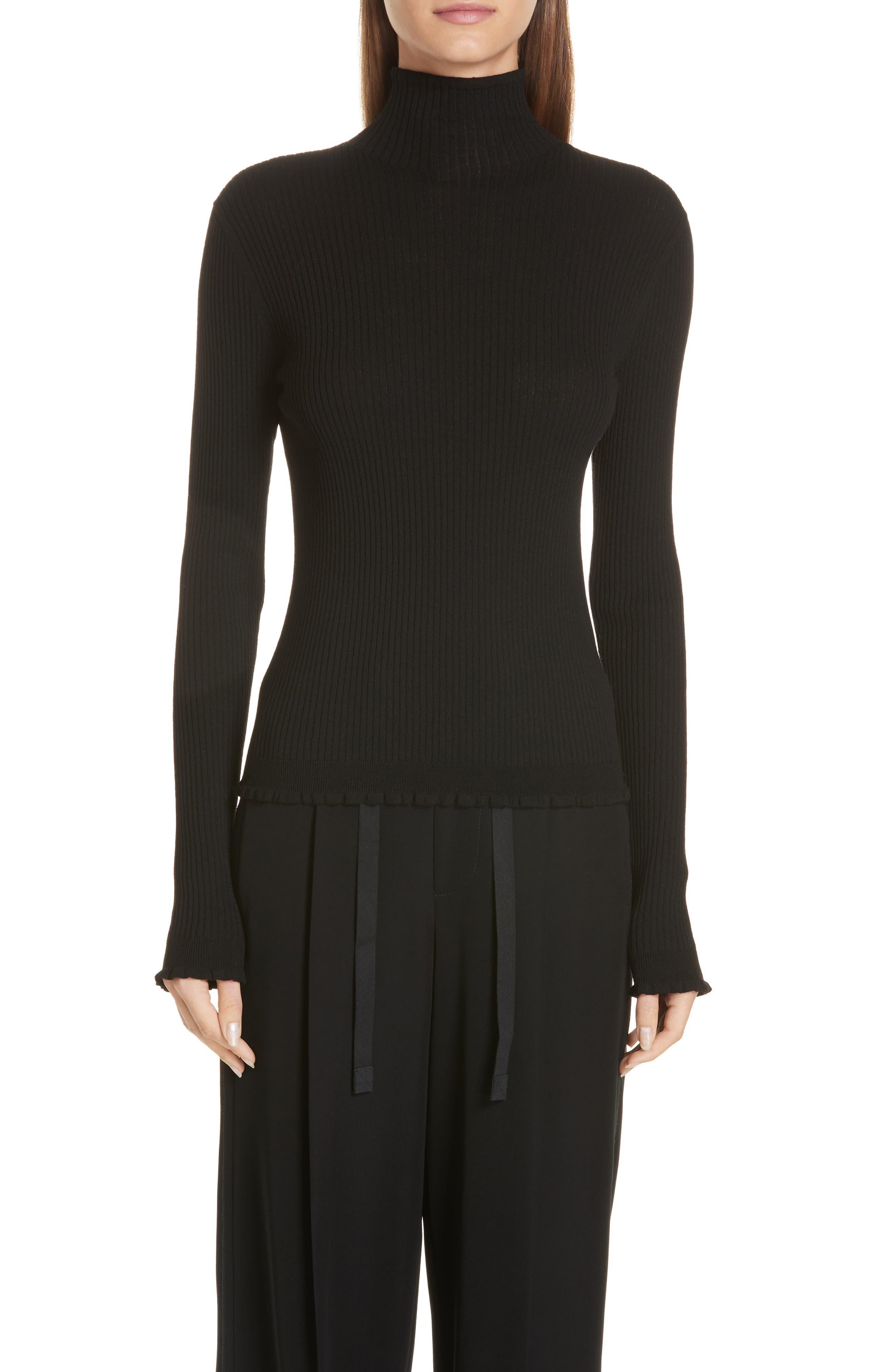 Vince Lettuce Edge Mock Neck Merino Wool Sweater, Black