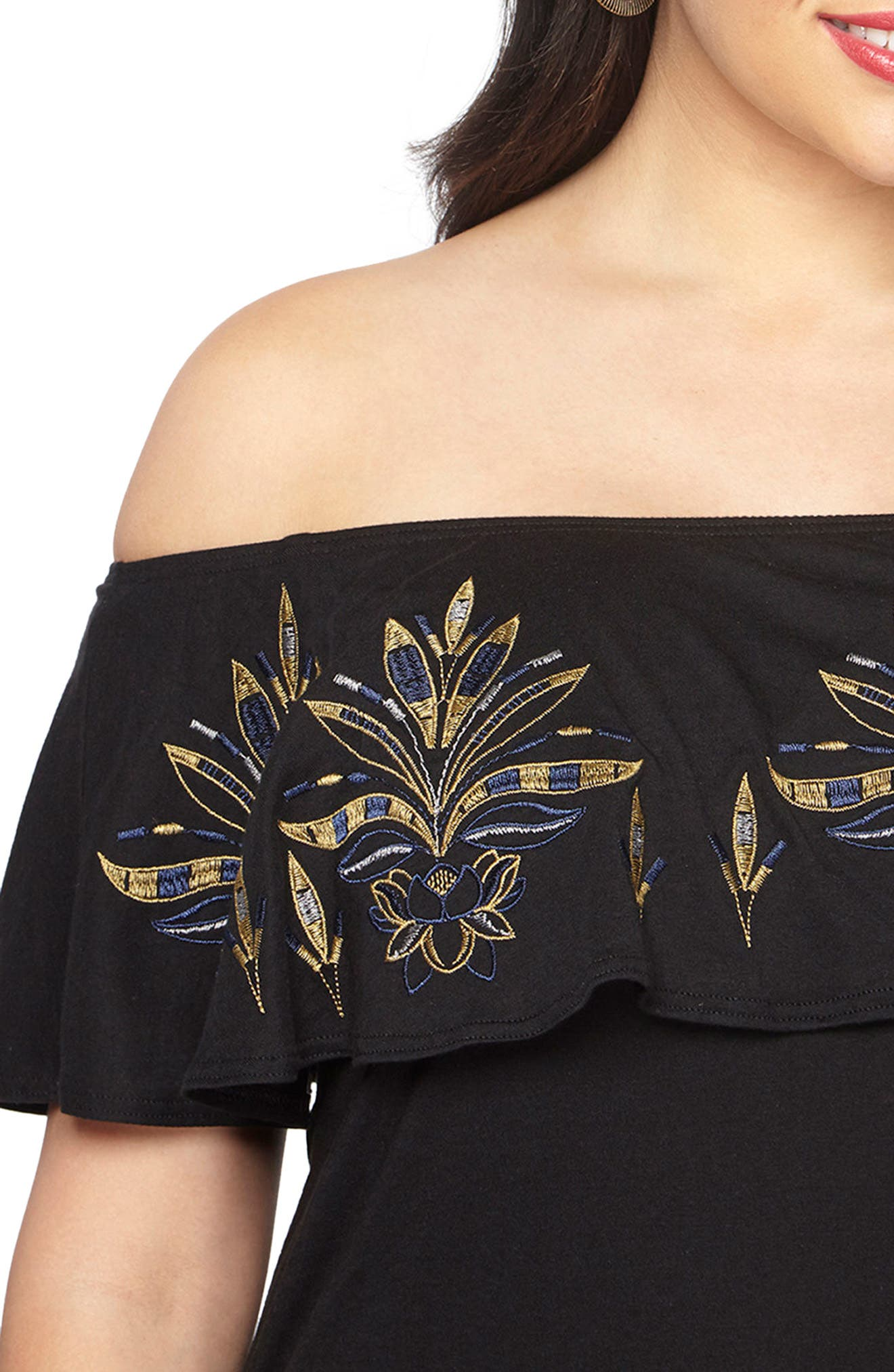 Embroidered Off the Shoulder Maxi Dress,                             Alternate thumbnail 3, color,                             001