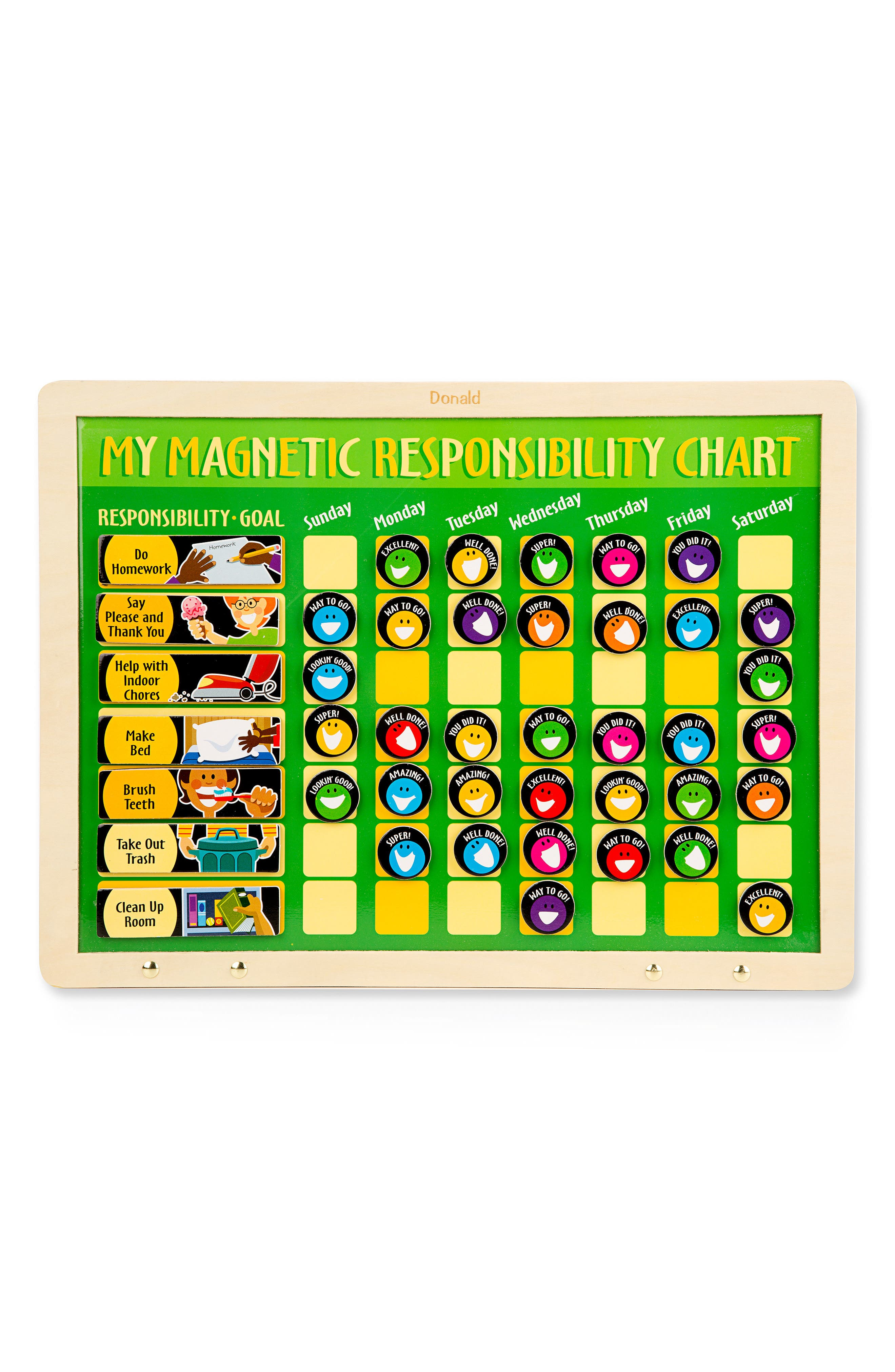 Personalized 'My Magnetic Responsibility' Chart,                             Alternate thumbnail 3, color,                             GREEN