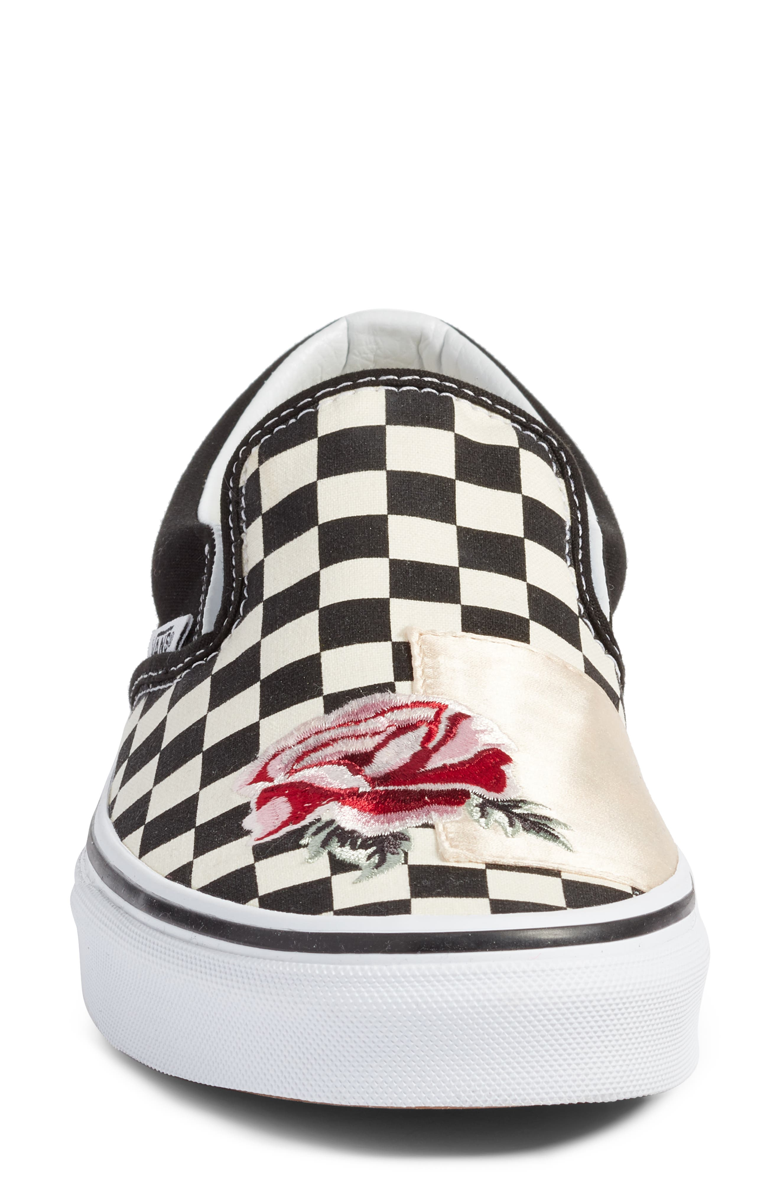 UA Classic Slip-On Sneaker,                             Alternate thumbnail 4, color,                             CHECKER/ ROSE