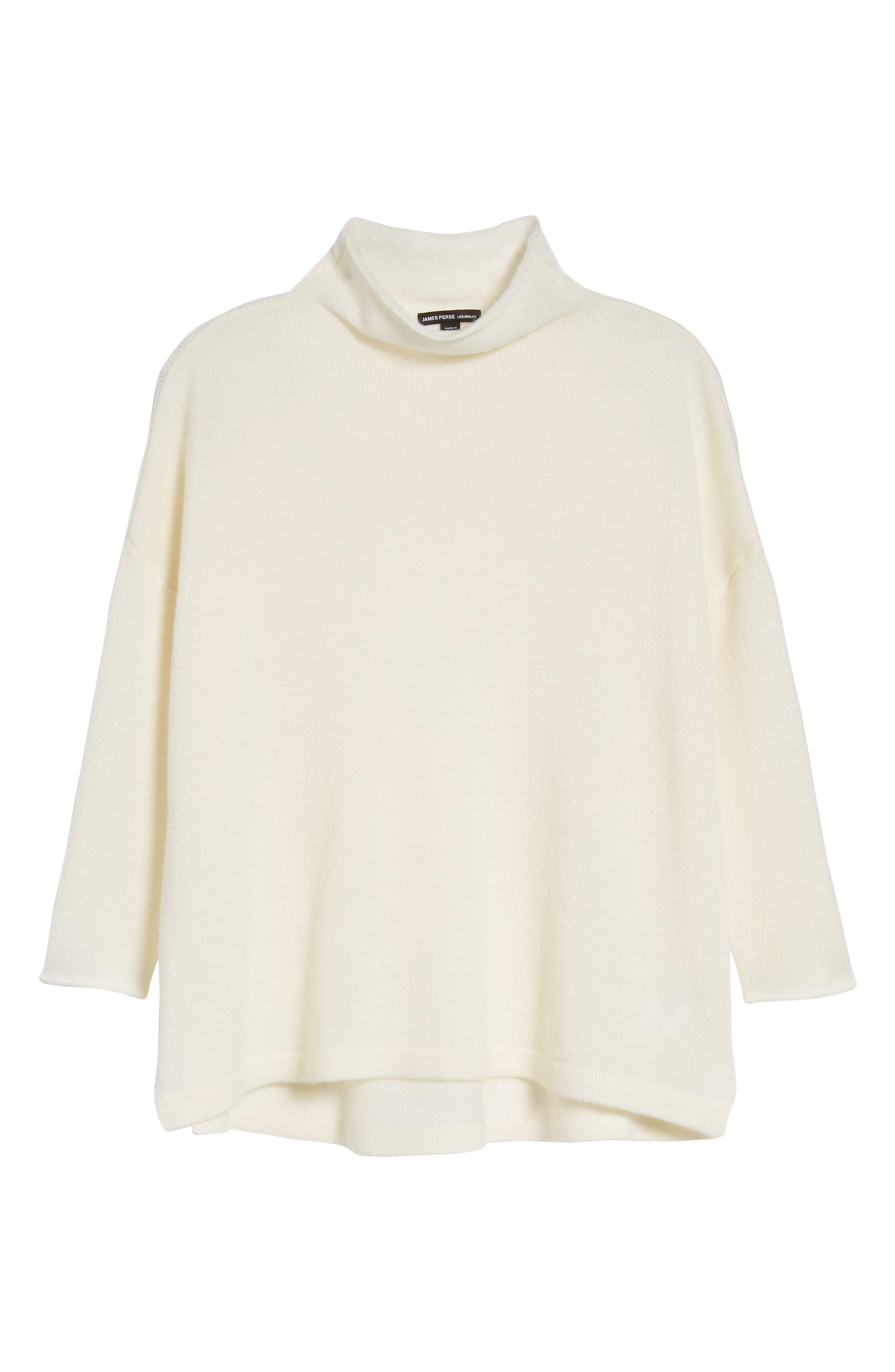 Mock Neck Cashmere Sweater,                             Alternate thumbnail 6, color,                             IVORY