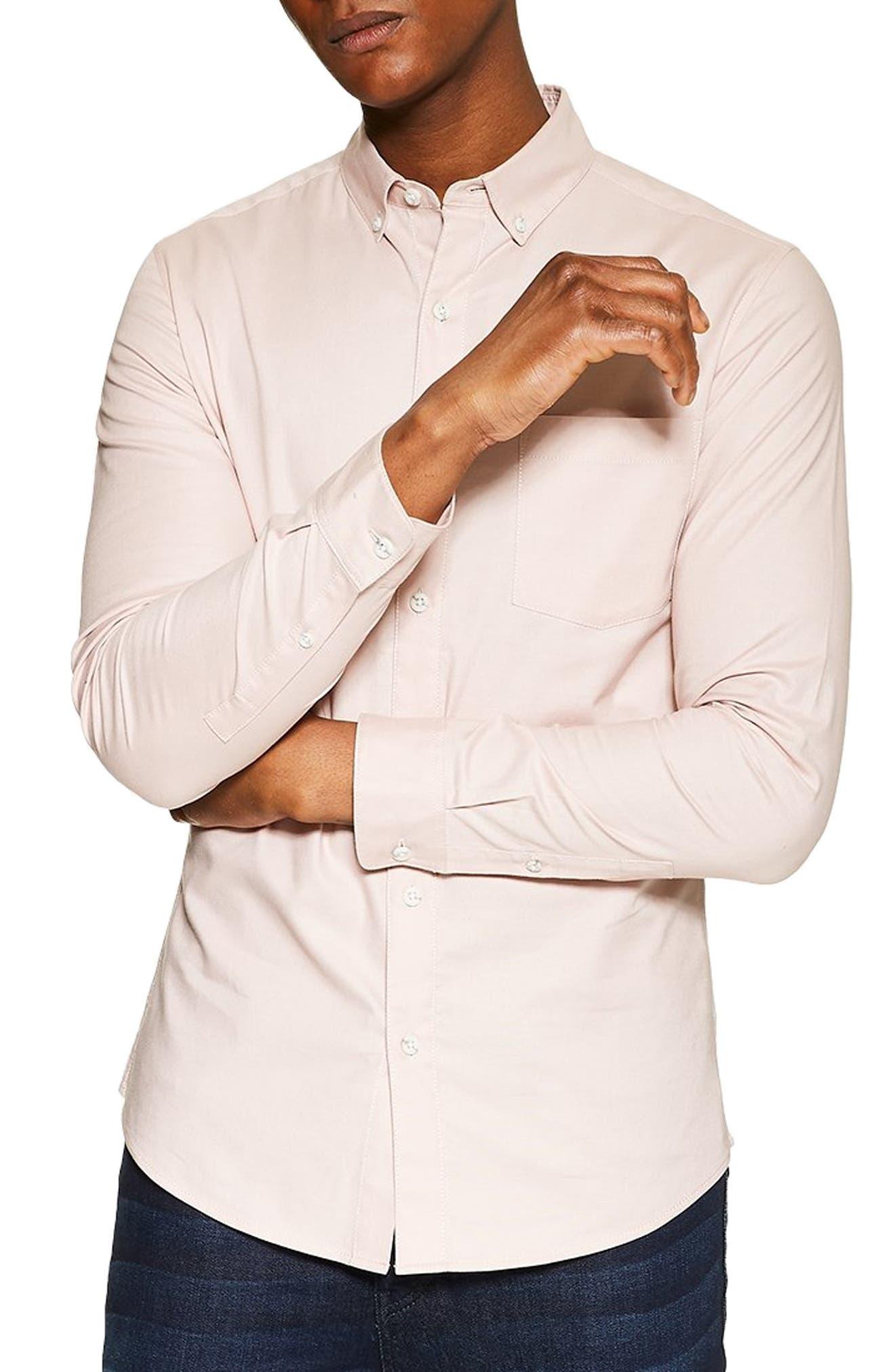 Topman Stretch Solid Sport Shirt, Pink