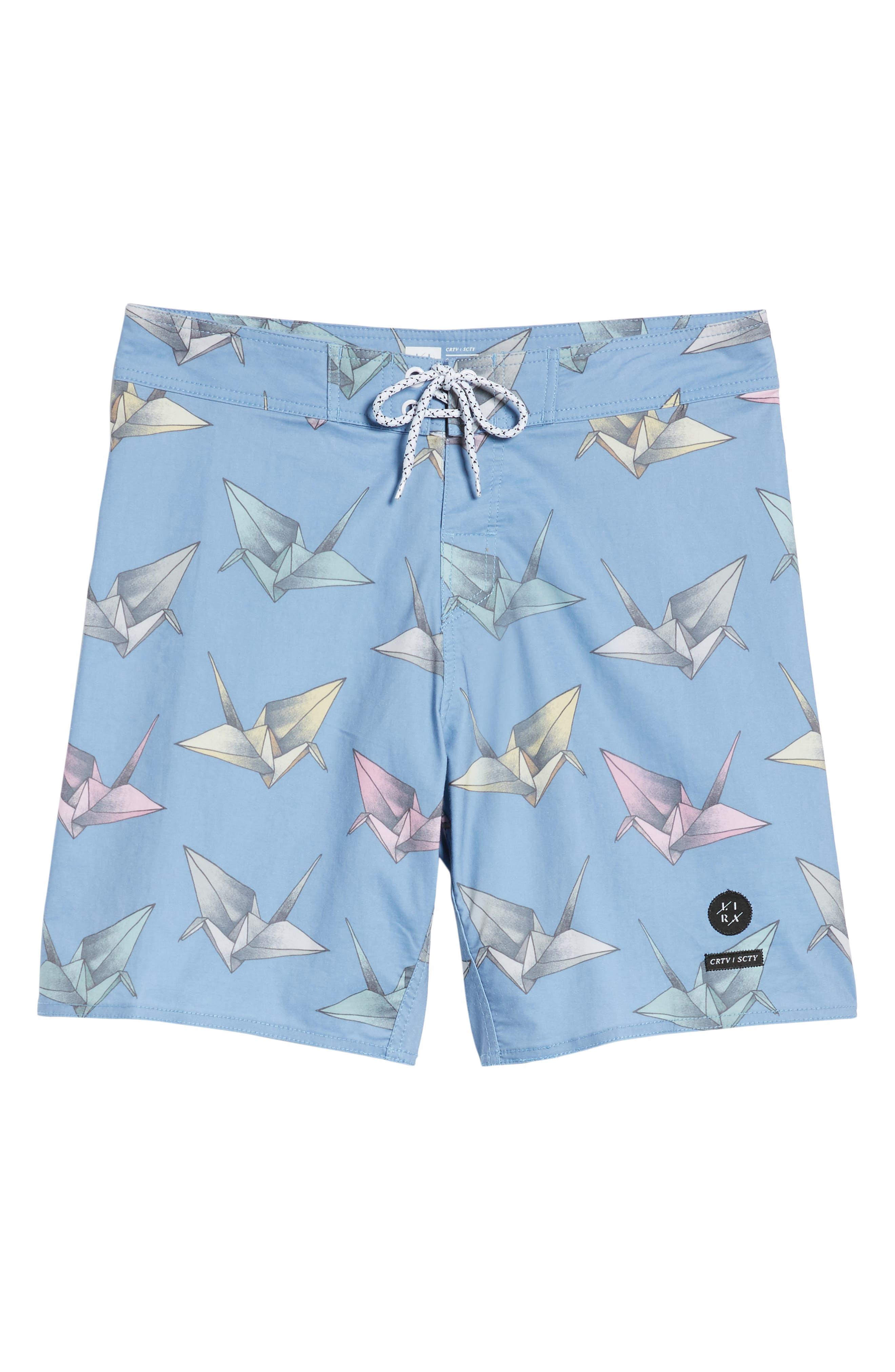 Origami Print Board Shorts,                             Alternate thumbnail 6, color,