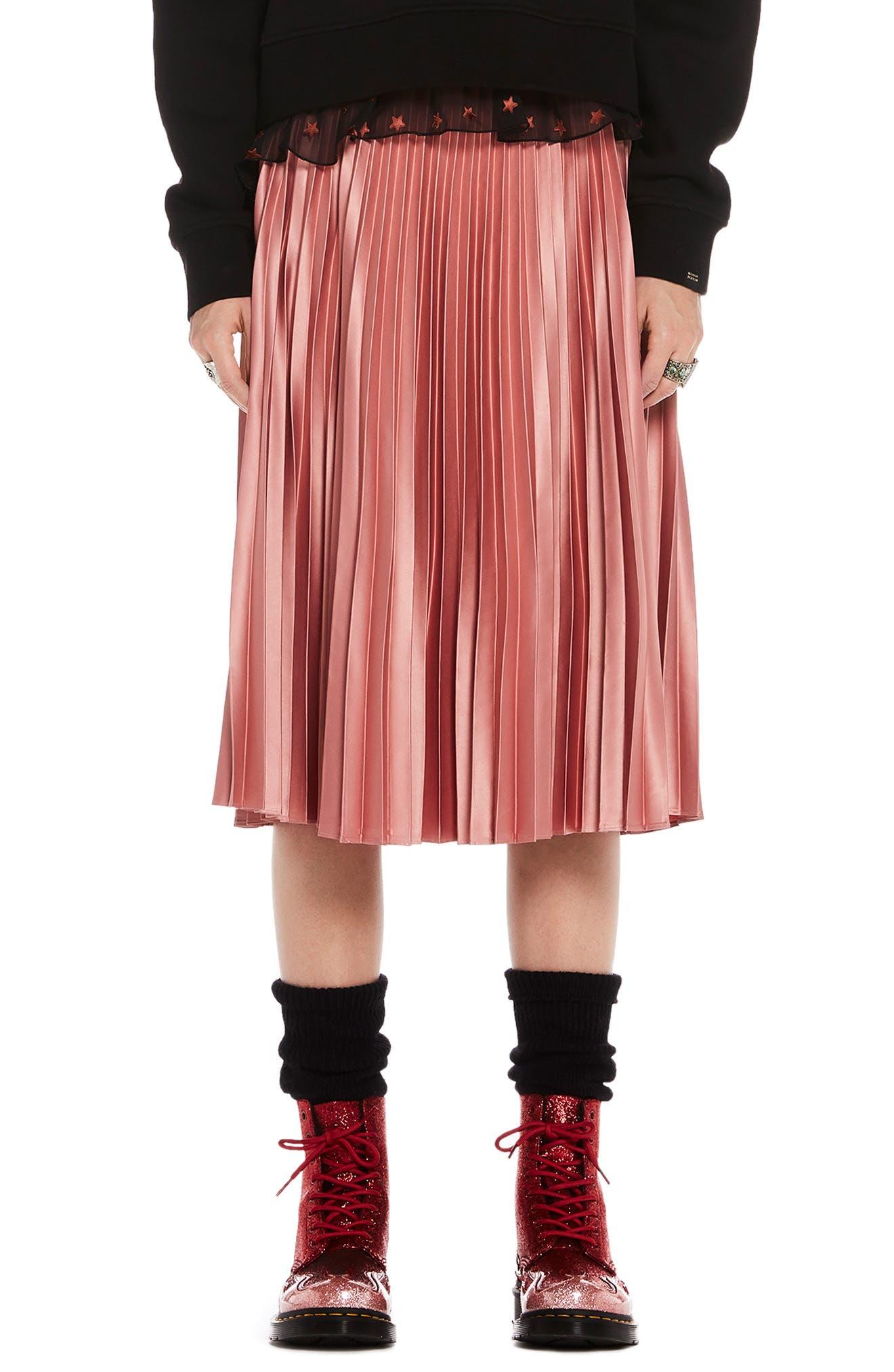 Shiny Pleated Midi Skirt, Main, color, 650