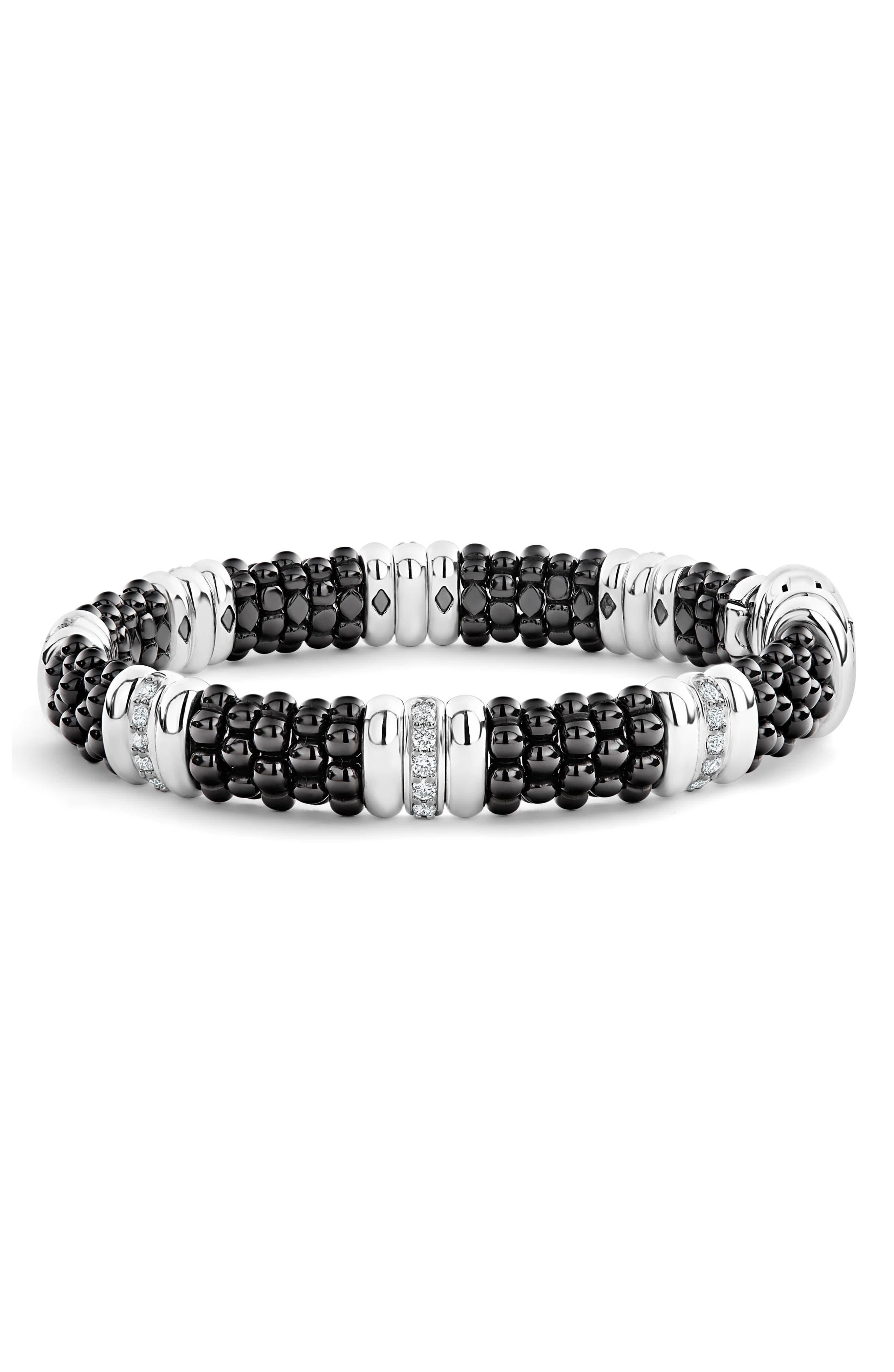 LAOGS Black Caviar Diamond 7-Link Bracelet,                             Alternate thumbnail 4, color,                             SILVER