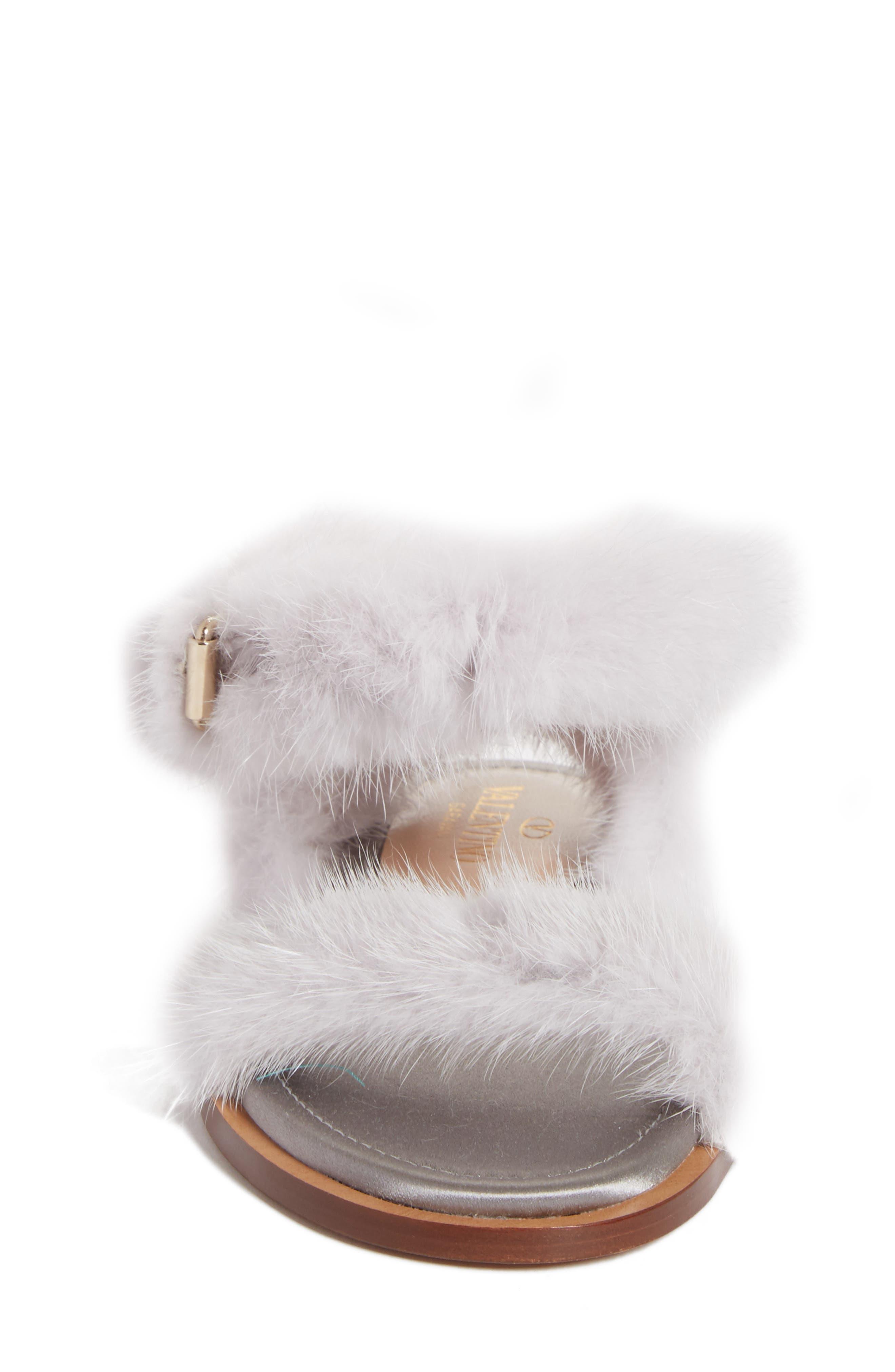 Genuine Mink Fur Sandal,                             Alternate thumbnail 4, color,                             030