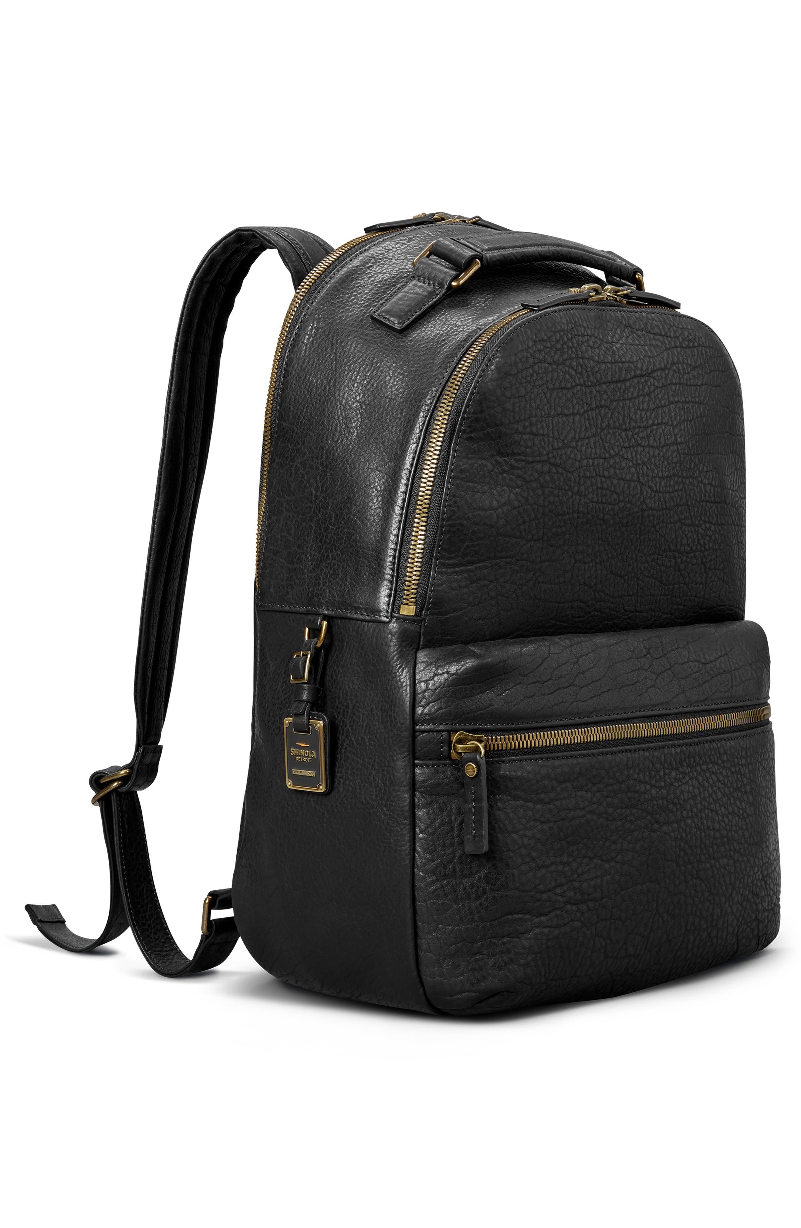 Bison Runwell Leather Backpack,                             Alternate thumbnail 4, color,                             BLACK