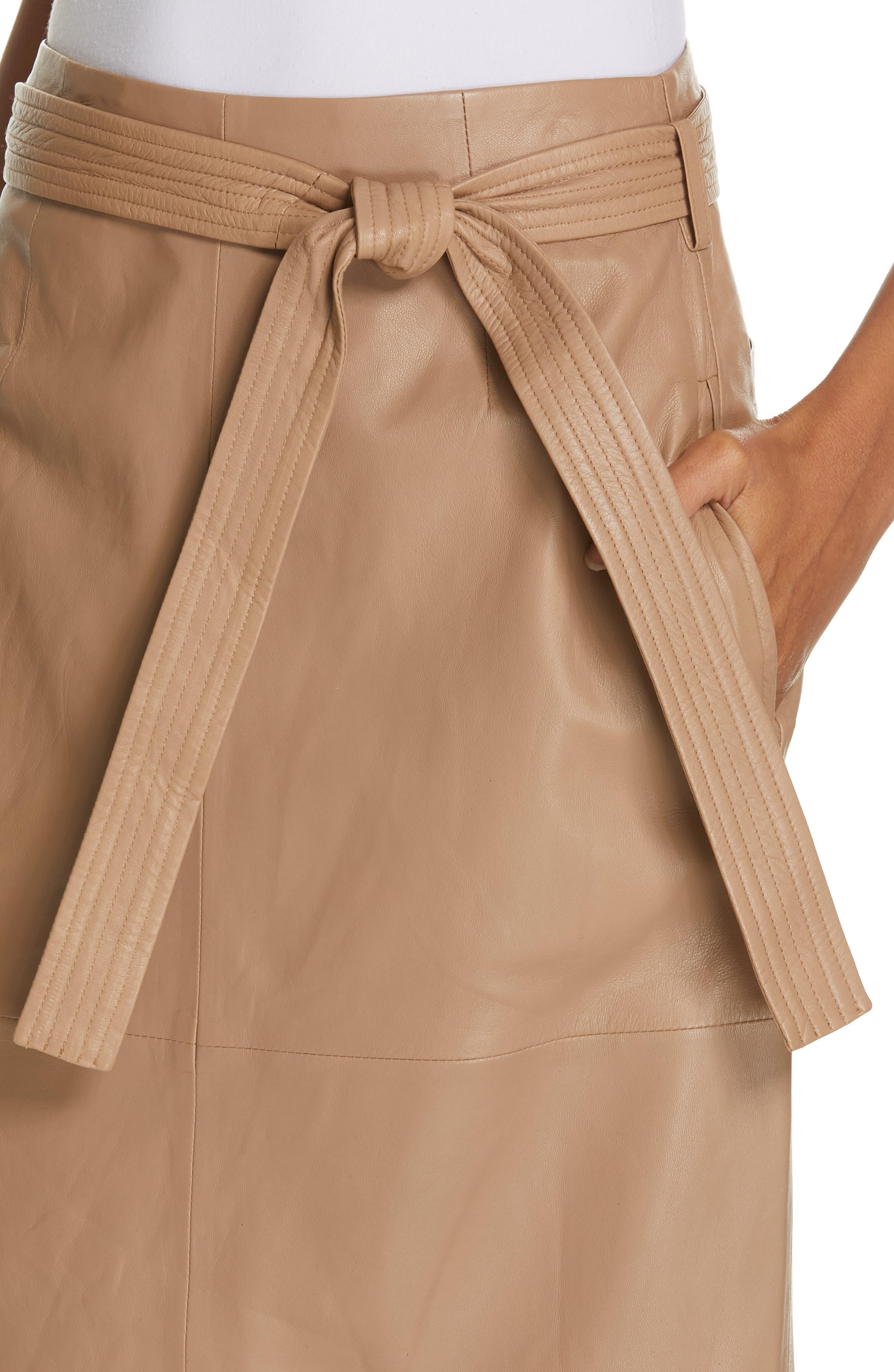Alouetta Leather Skirt,                             Alternate thumbnail 4, color,                             BOIS