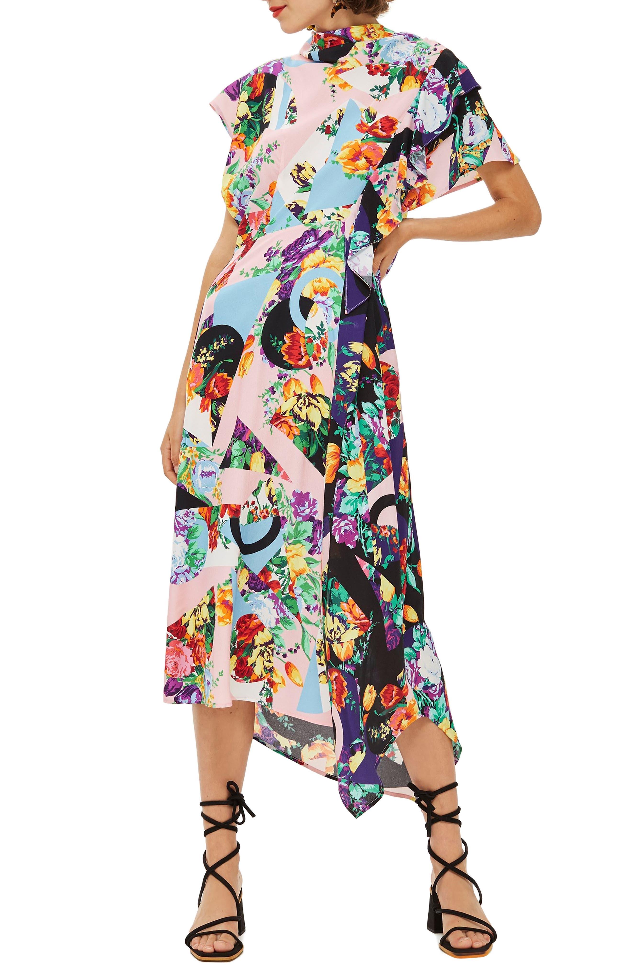 Cowl Back Midi Dress,                             Main thumbnail 1, color,                             PINK MULTI