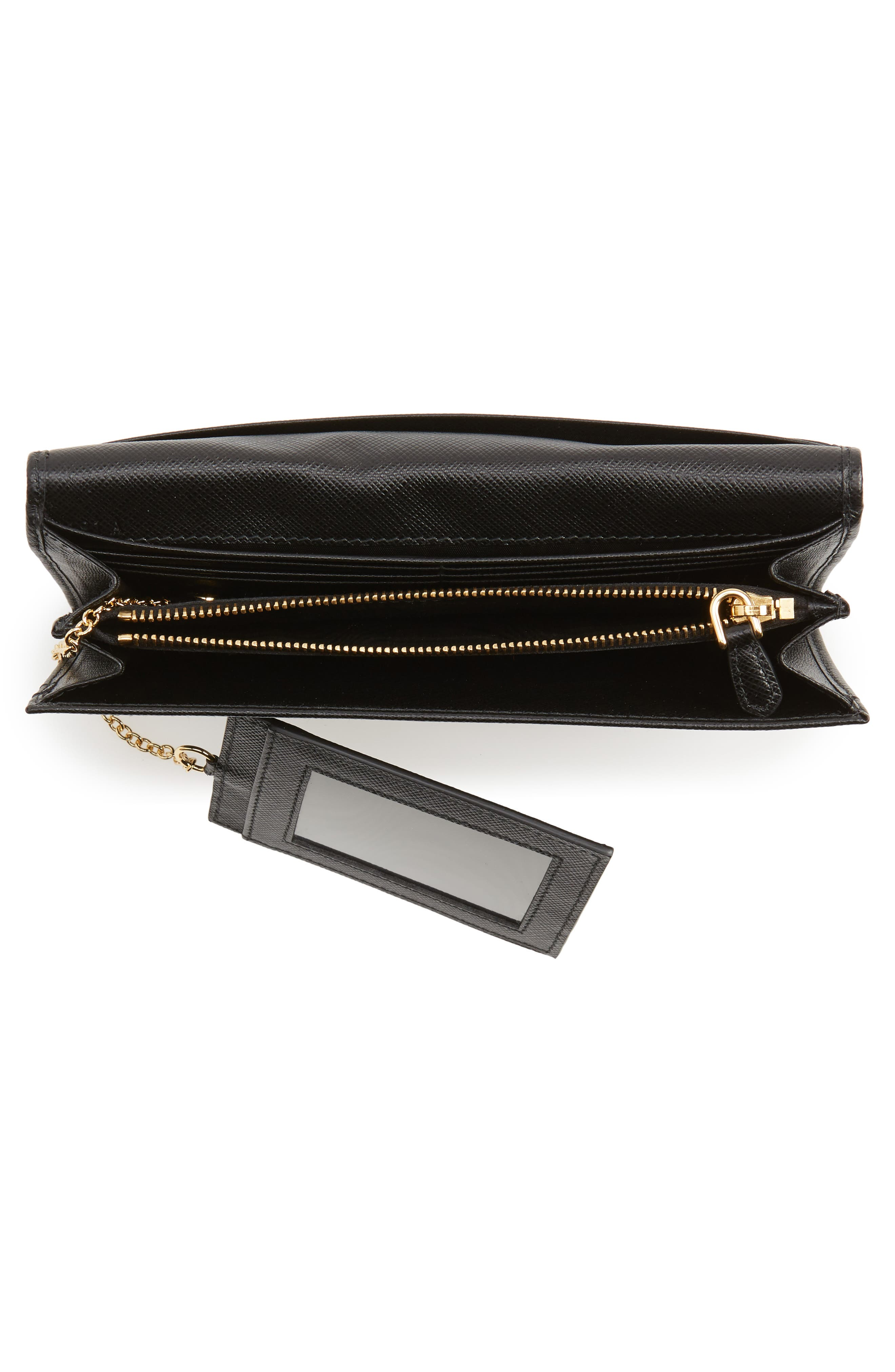 Metal Bar Saffiano Leather Continental Wallet,                             Alternate thumbnail 4, color,                             001