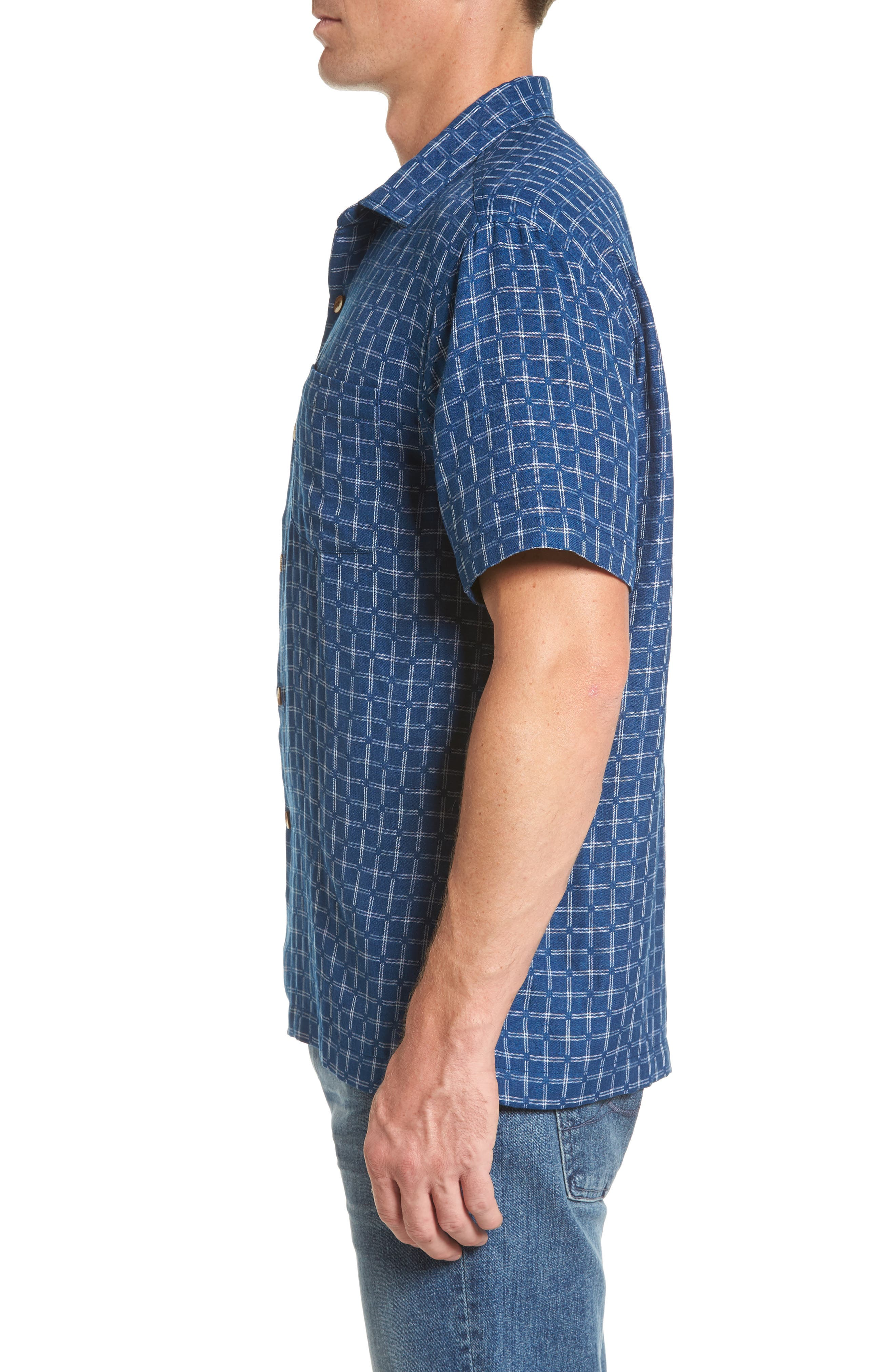 Keep It in Check Standard Fit Silk Blend Camp Shirt,                             Alternate thumbnail 3, color,                             400