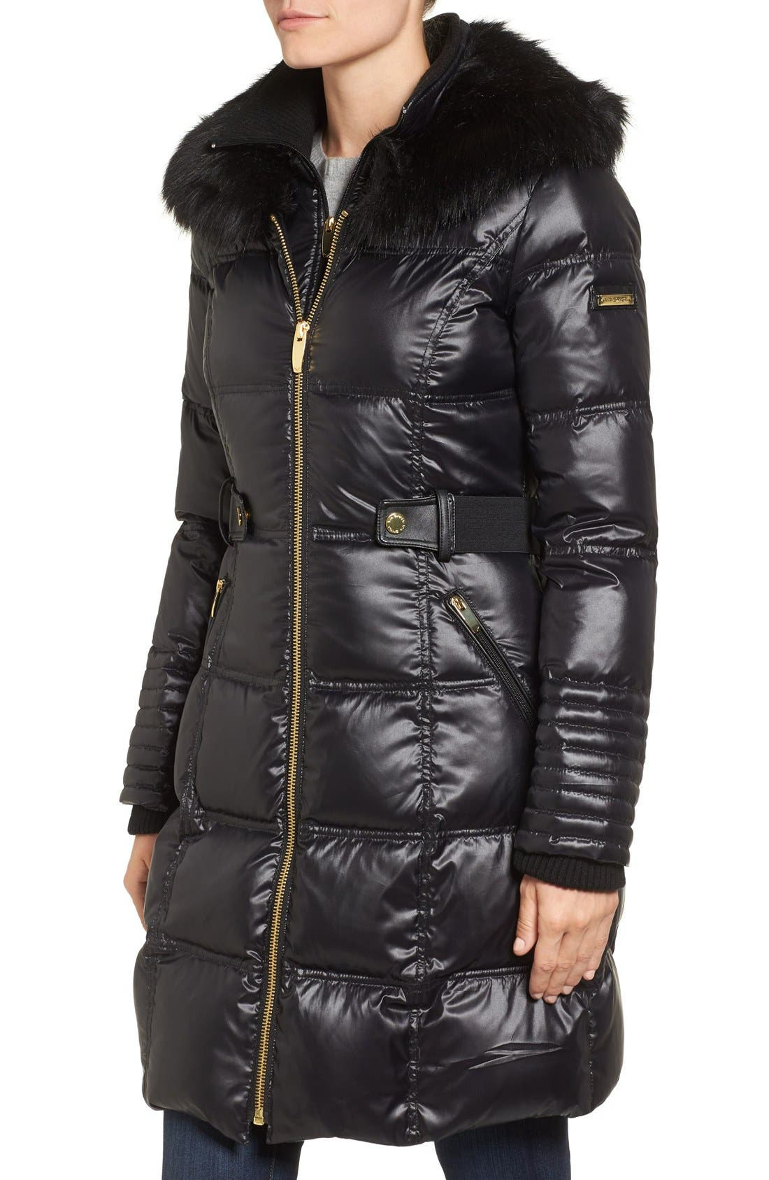 Quilted Coat with Faux Fur Trim,                             Alternate thumbnail 3, color,                             001