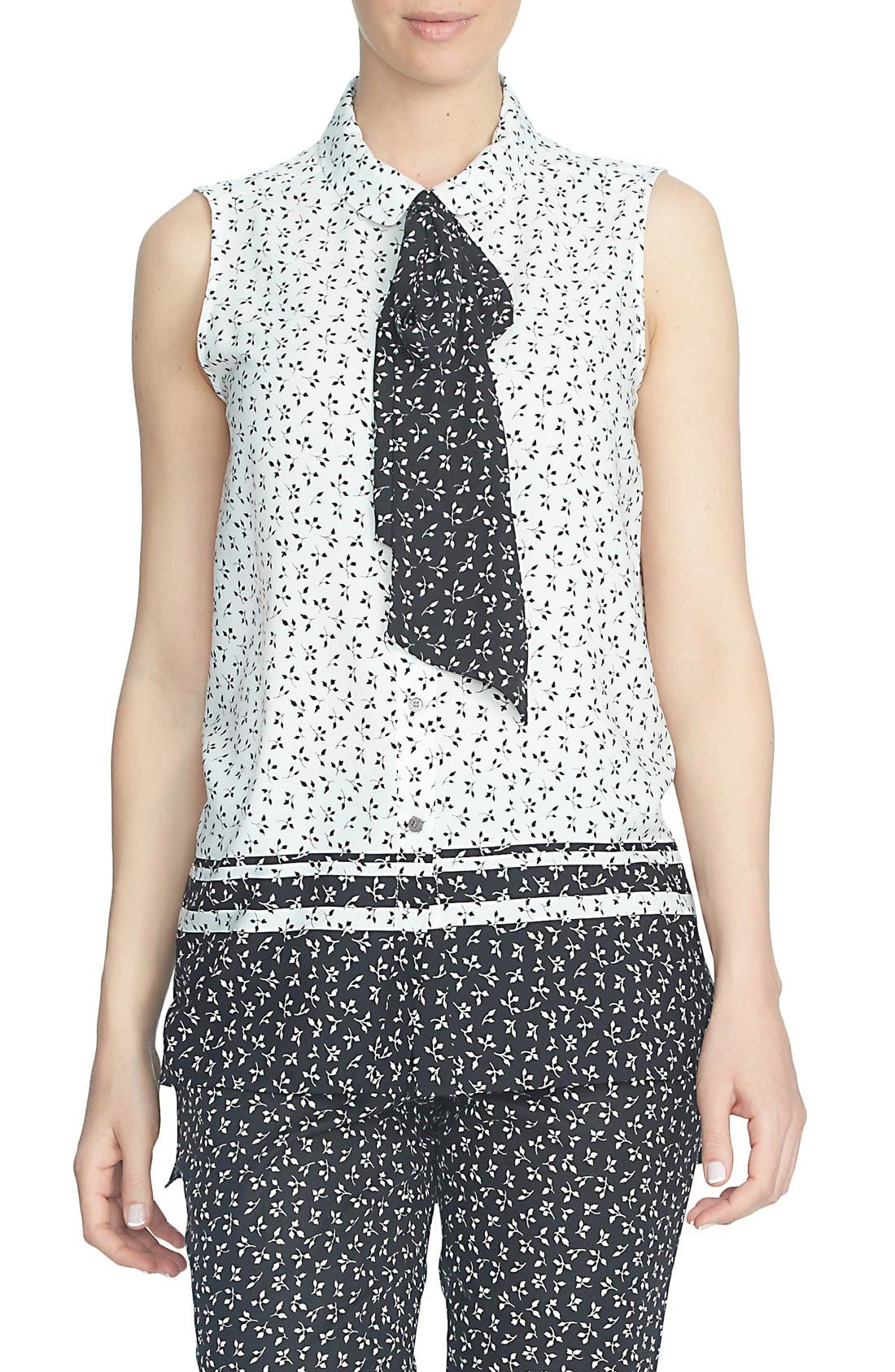 'Ditsy Leaf' Sleeveless Tie Neck Blouse,                         Main,                         color, 006