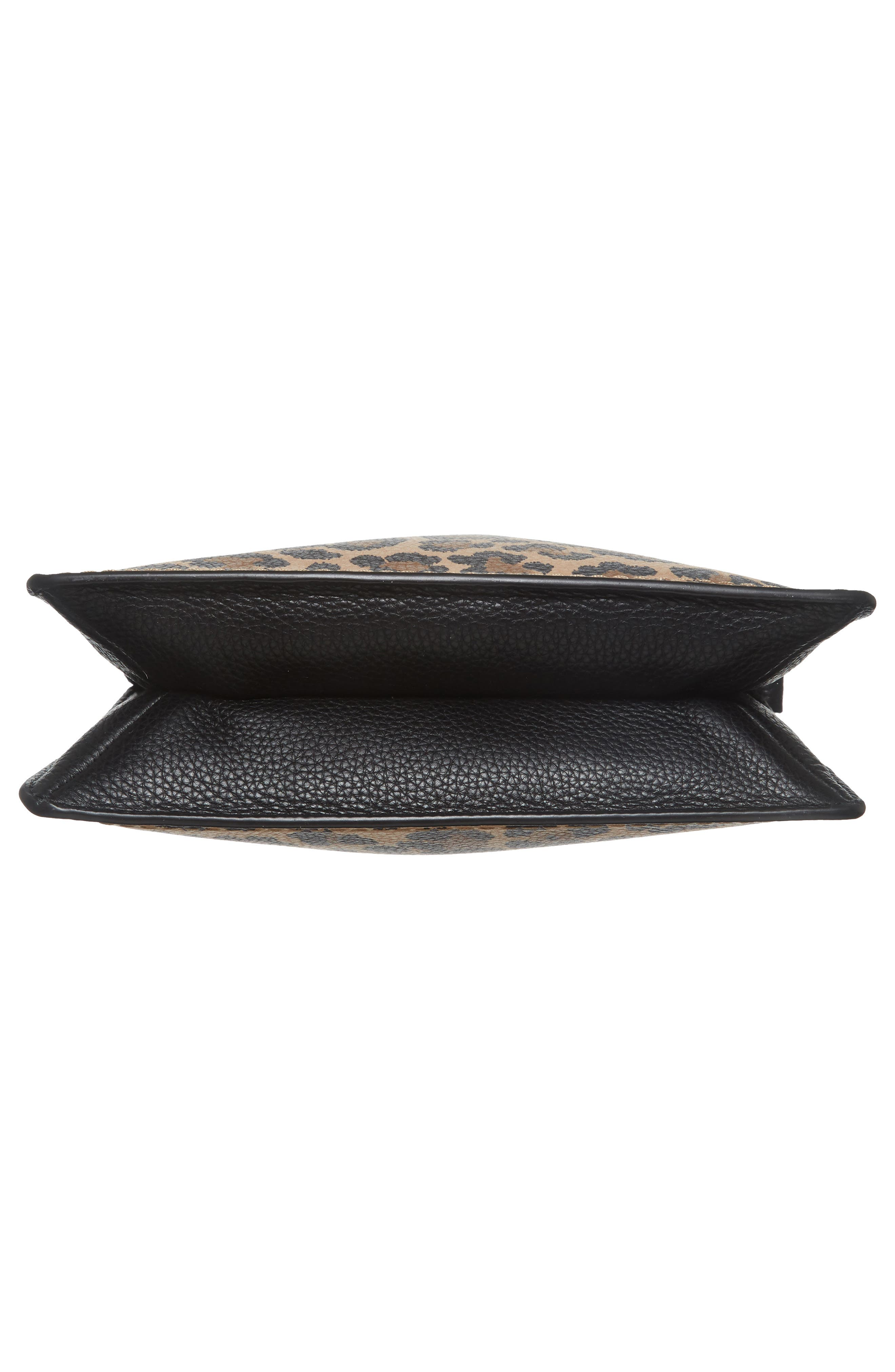 dunne lane - leopard caro leather crossbody bag,                             Alternate thumbnail 6, color,                             200