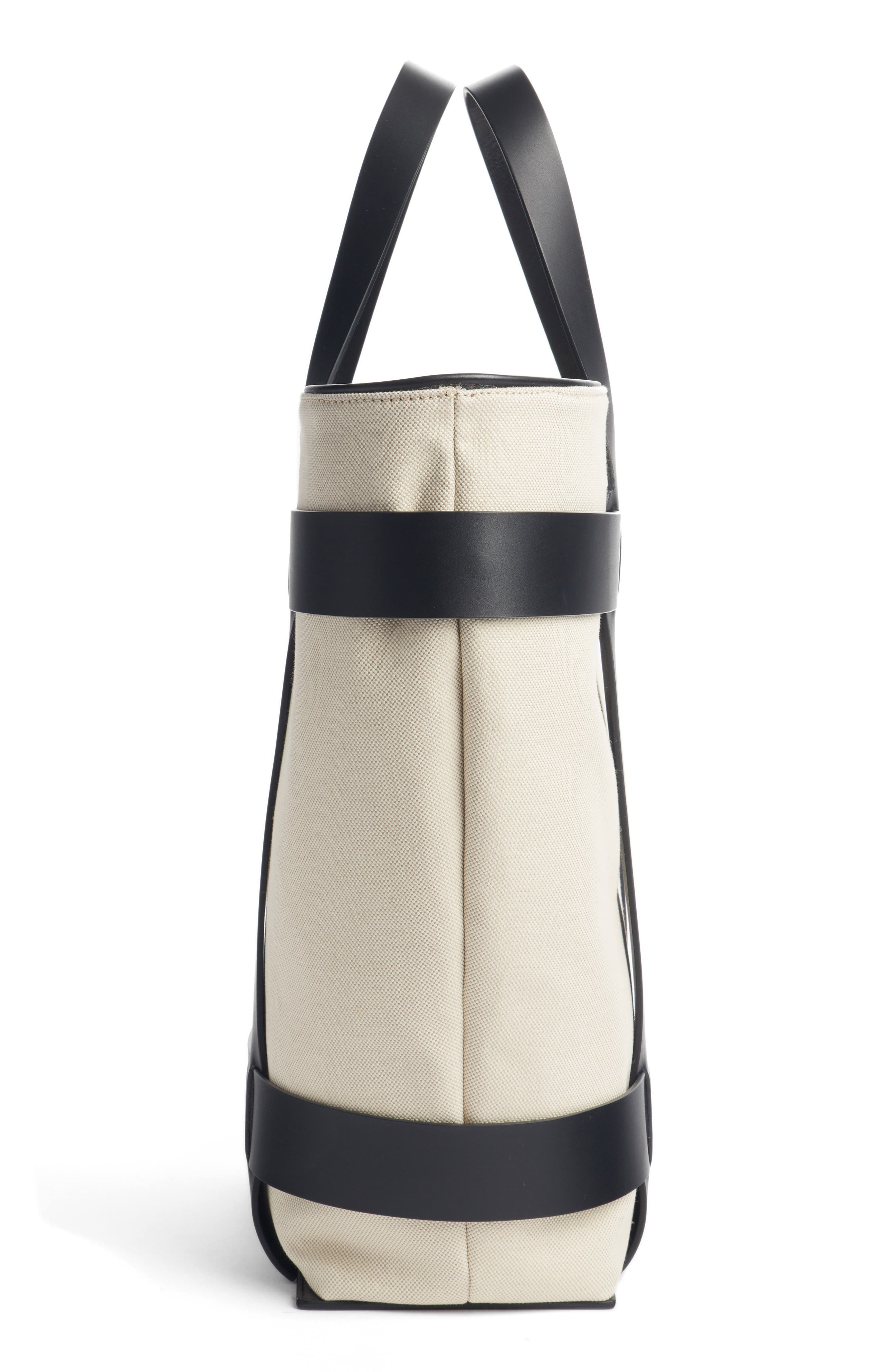 PACO RABANNE,                             Cage Leather & Canvas North/South Tote,                             Alternate thumbnail 4, color,                             IVORY/ BLACK