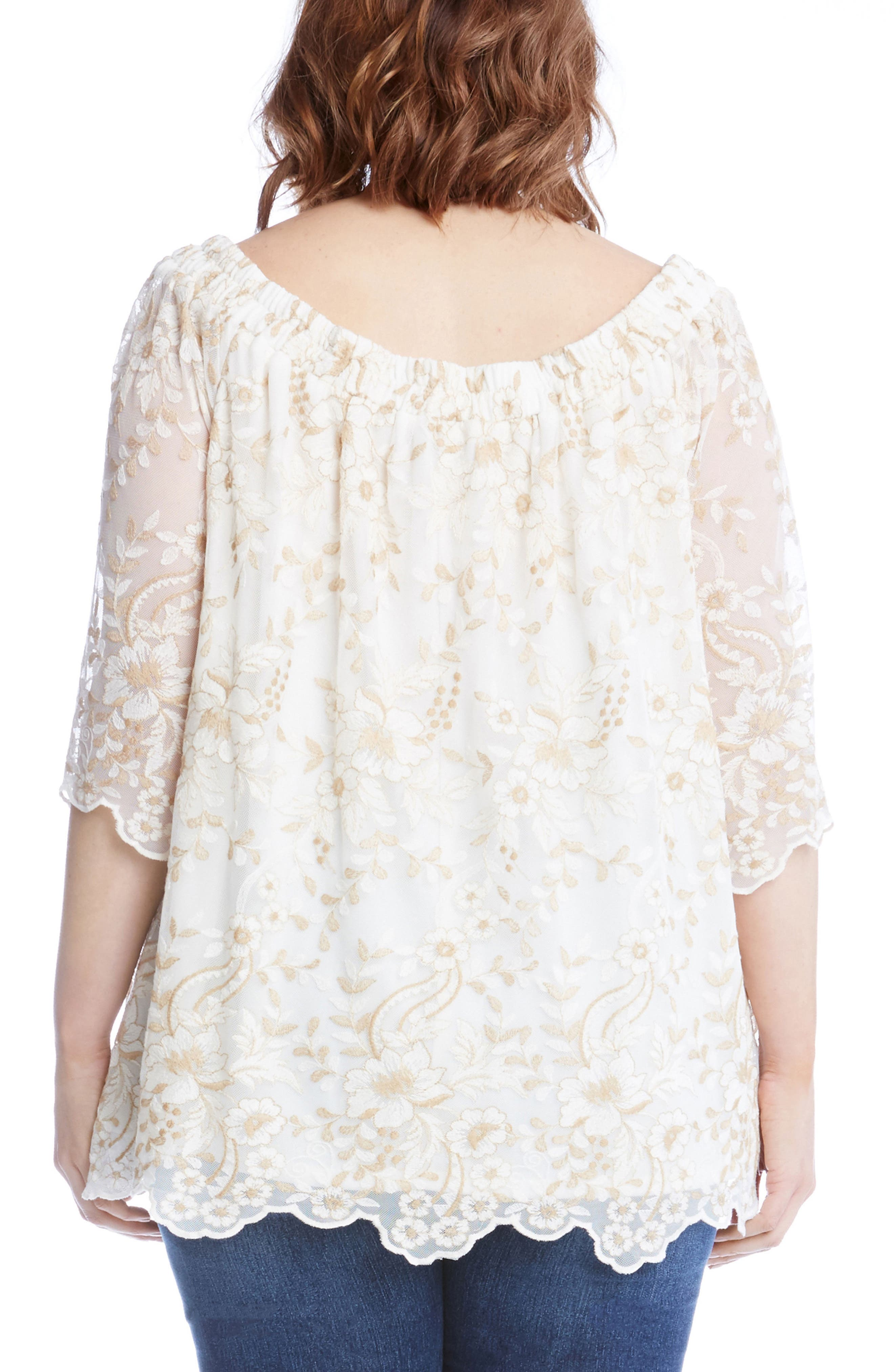 Embroidered Mesh Off the Shoulder Top,                             Alternate thumbnail 2, color,                             900