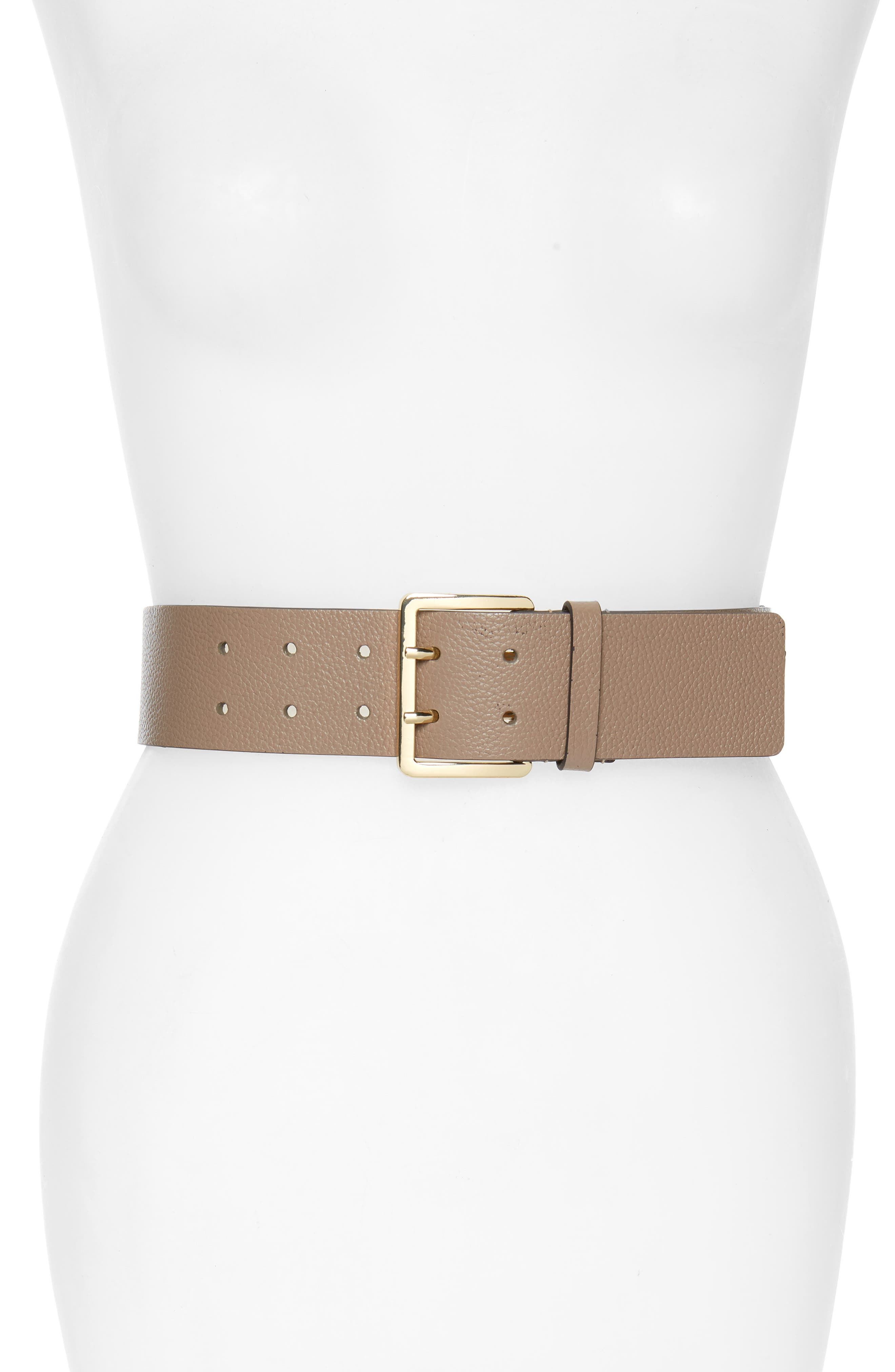 MICHAEL MICHAEL KORS Suede Fringe Leather Belt, Main, color, TRUFFLE/ LIGHT POL GOLD