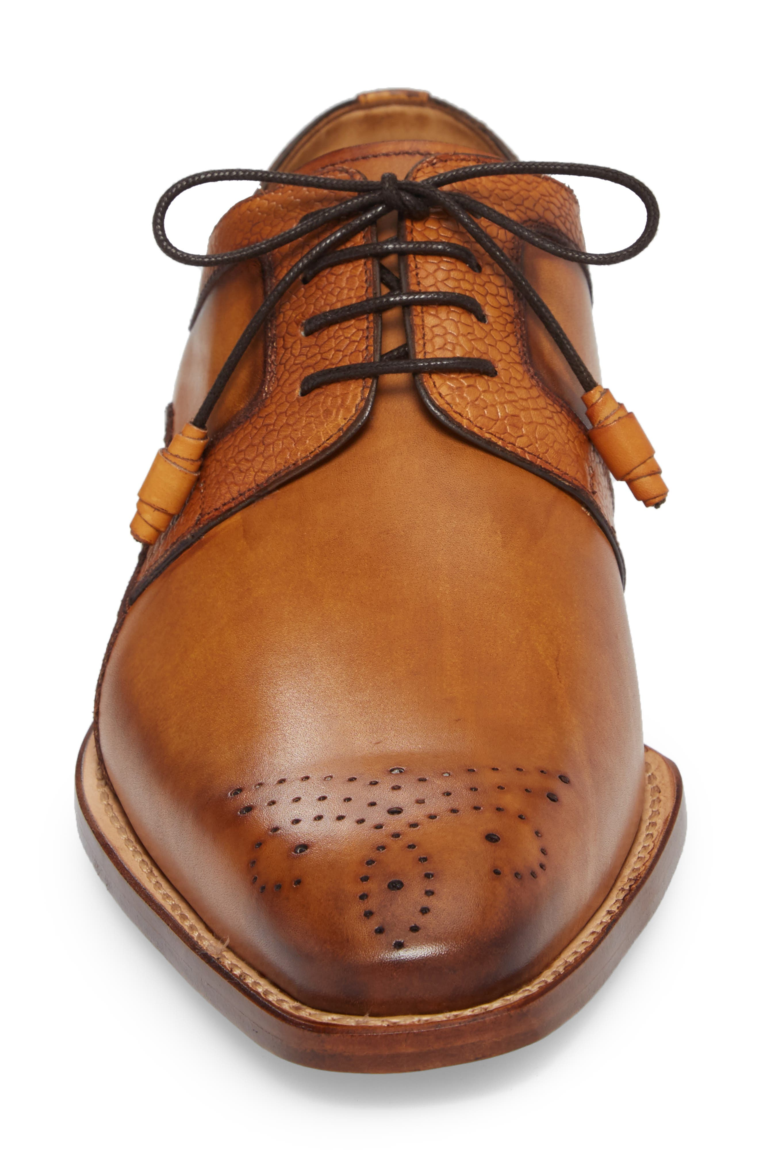 Saturno Medallion Toe Derby,                             Alternate thumbnail 4, color,                             TAN LEATHER