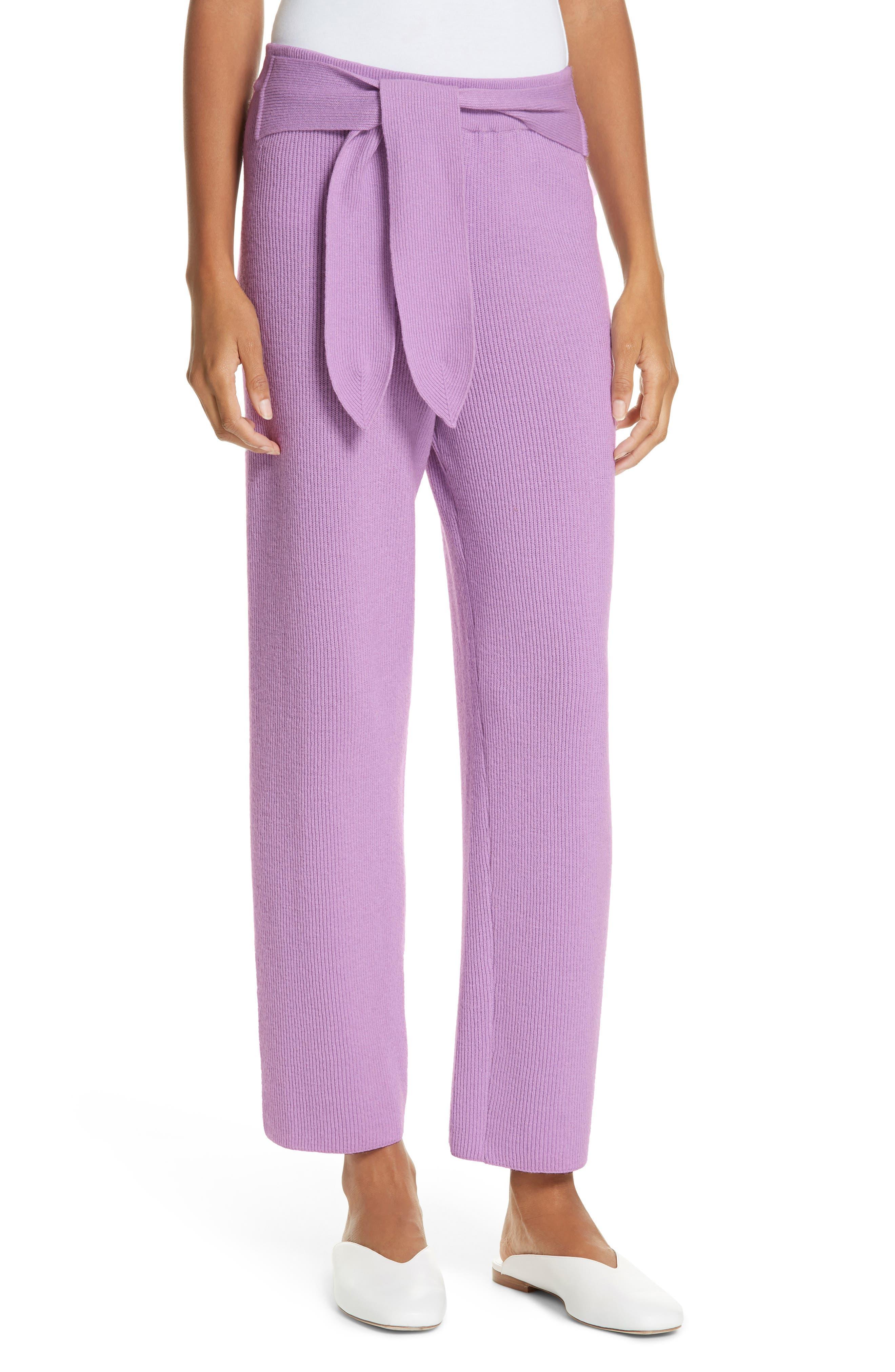 Nanushka Tigre Merino Wool & Cashmere Blend Pants, Purple