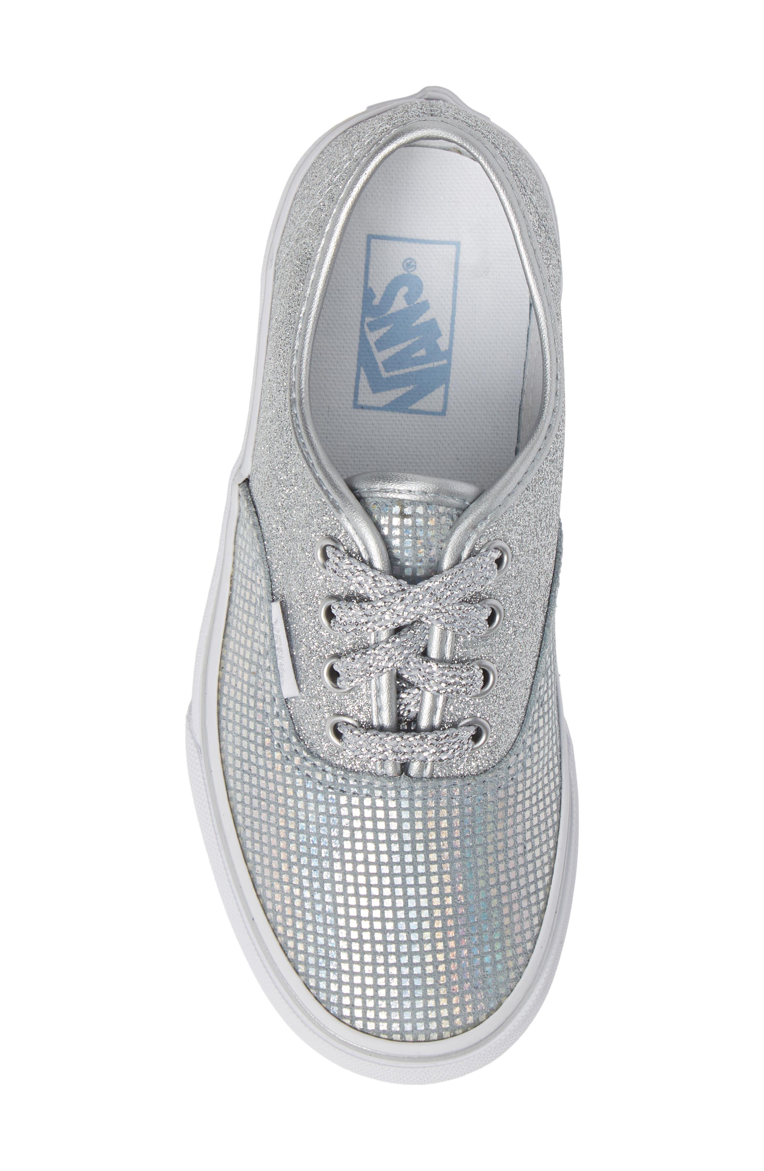 Authentic Glitter Sneaker,                             Alternate thumbnail 5, color,                             SILVER TEXTILE