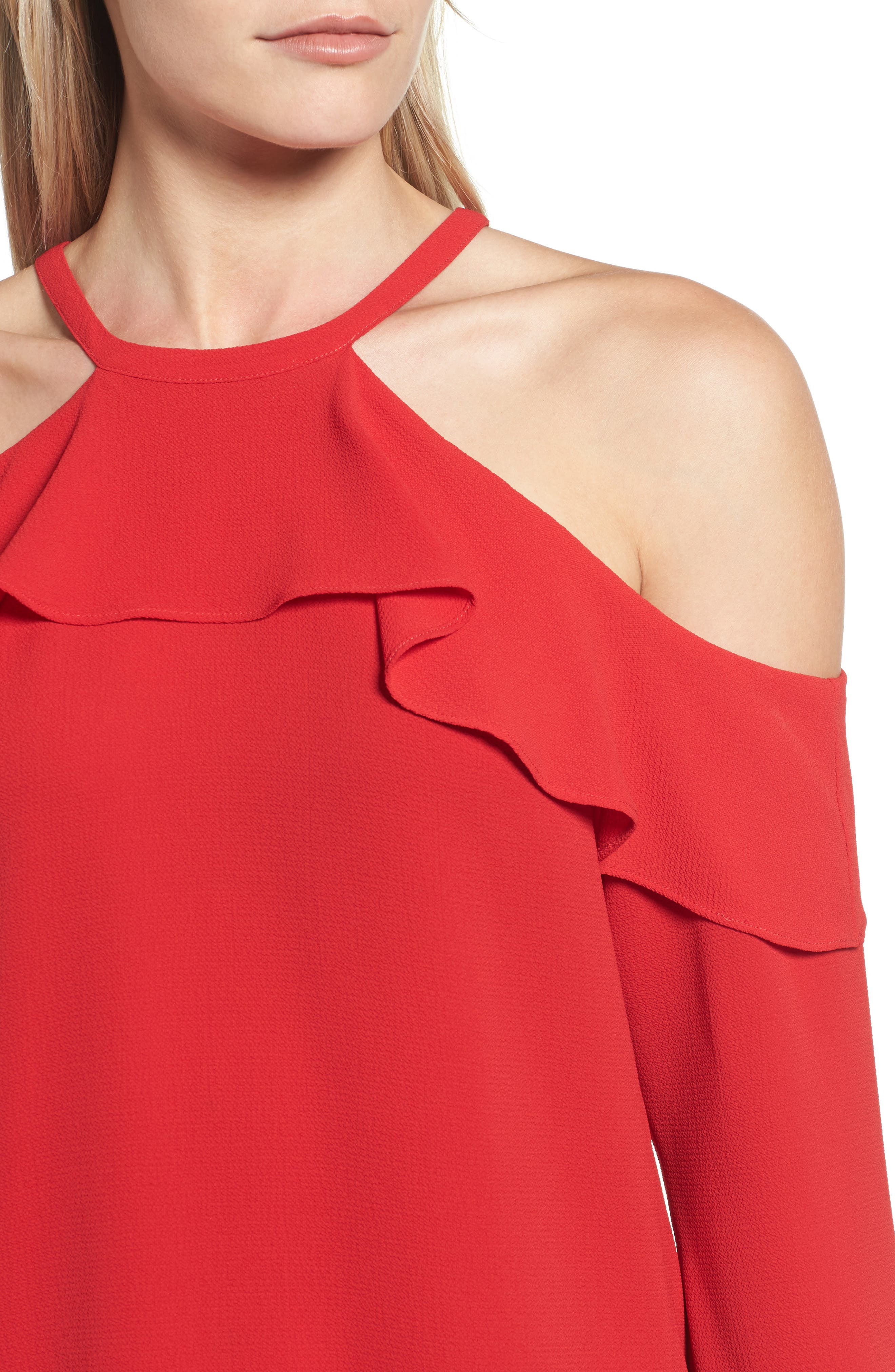 Cold Shoulder Ruffle Top,                             Alternate thumbnail 8, color,