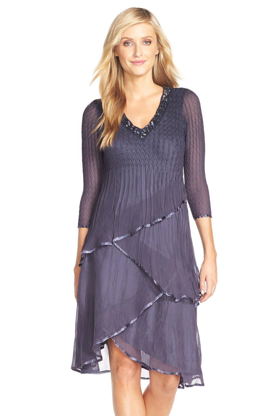 Tiered Chiffon A-Line Dress,                             Main thumbnail 1, color,