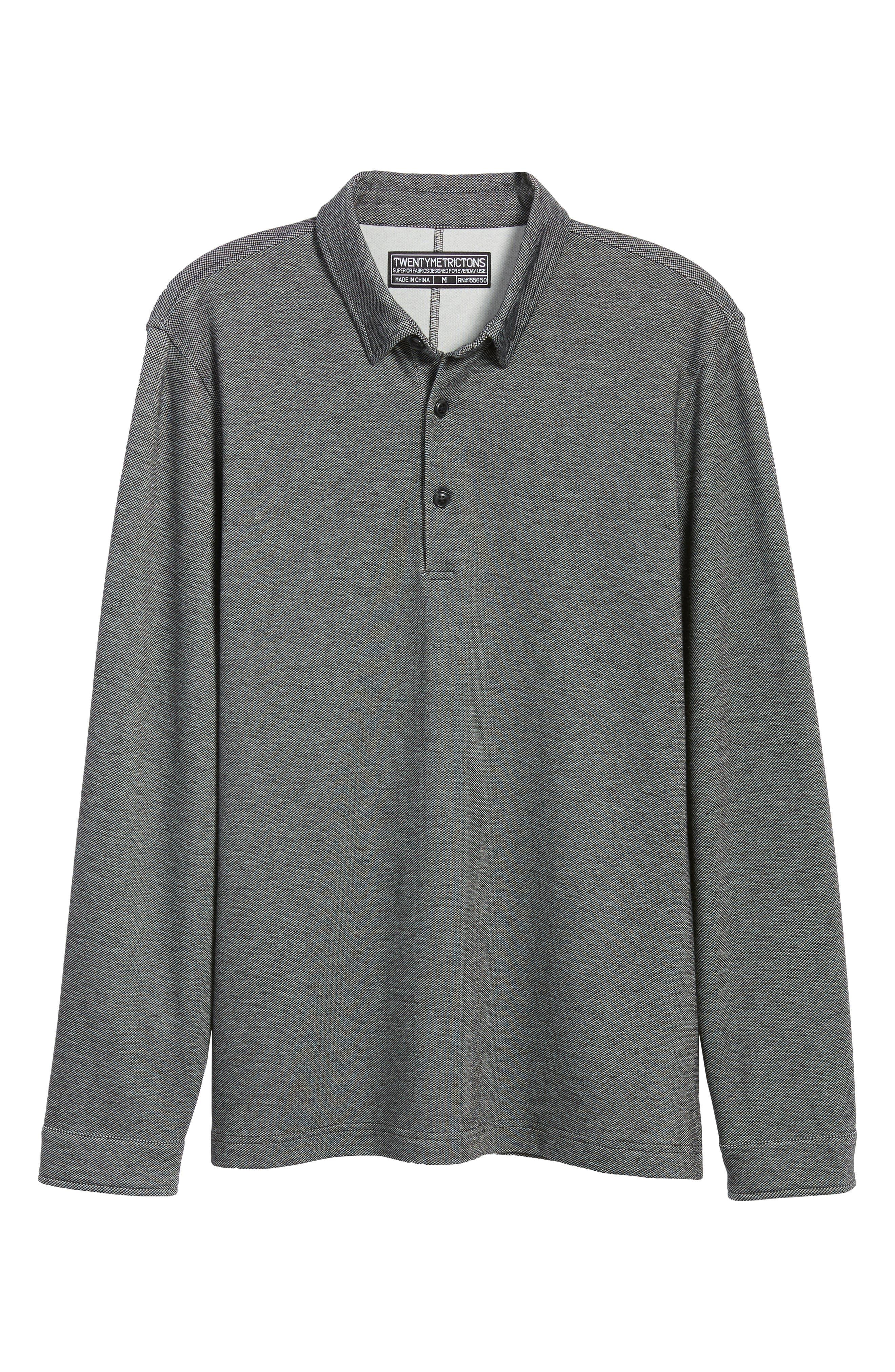 Trim Micro Jacquard Polo Shirt,                             Alternate thumbnail 6, color,                             001