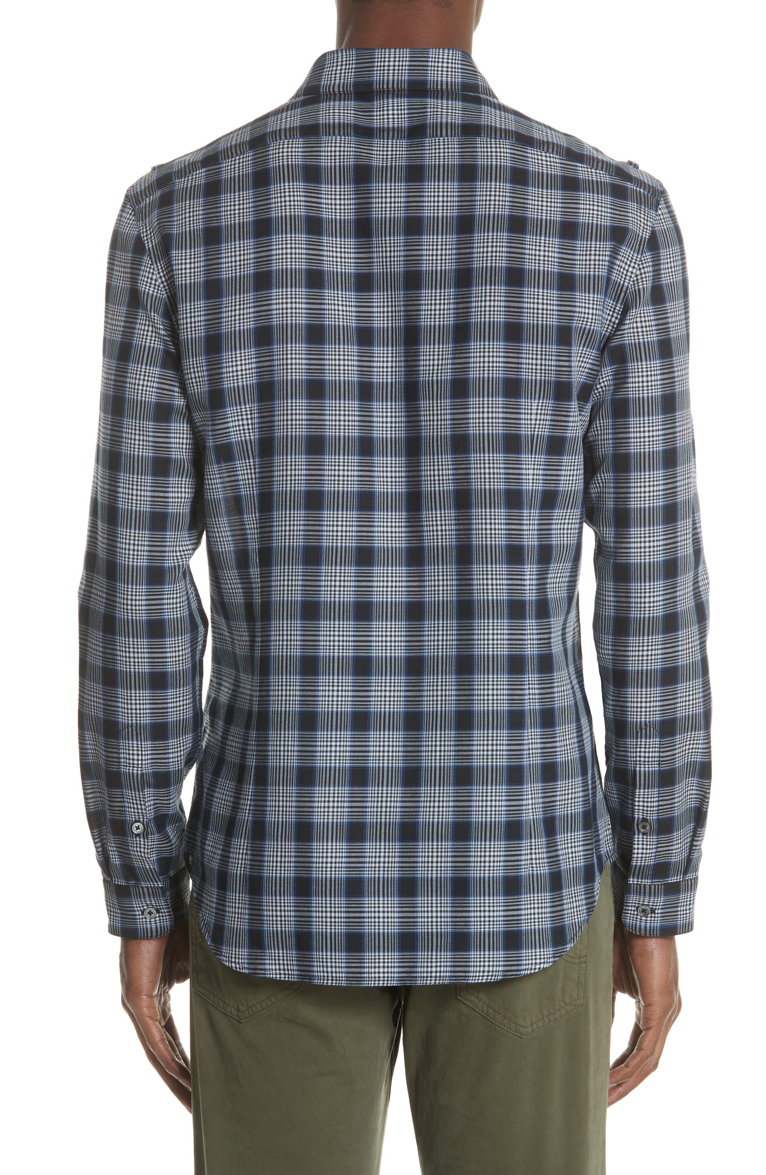 Slim Fit Plaid Sport Shirt,                             Alternate thumbnail 2, color,                             MIDNIGHT