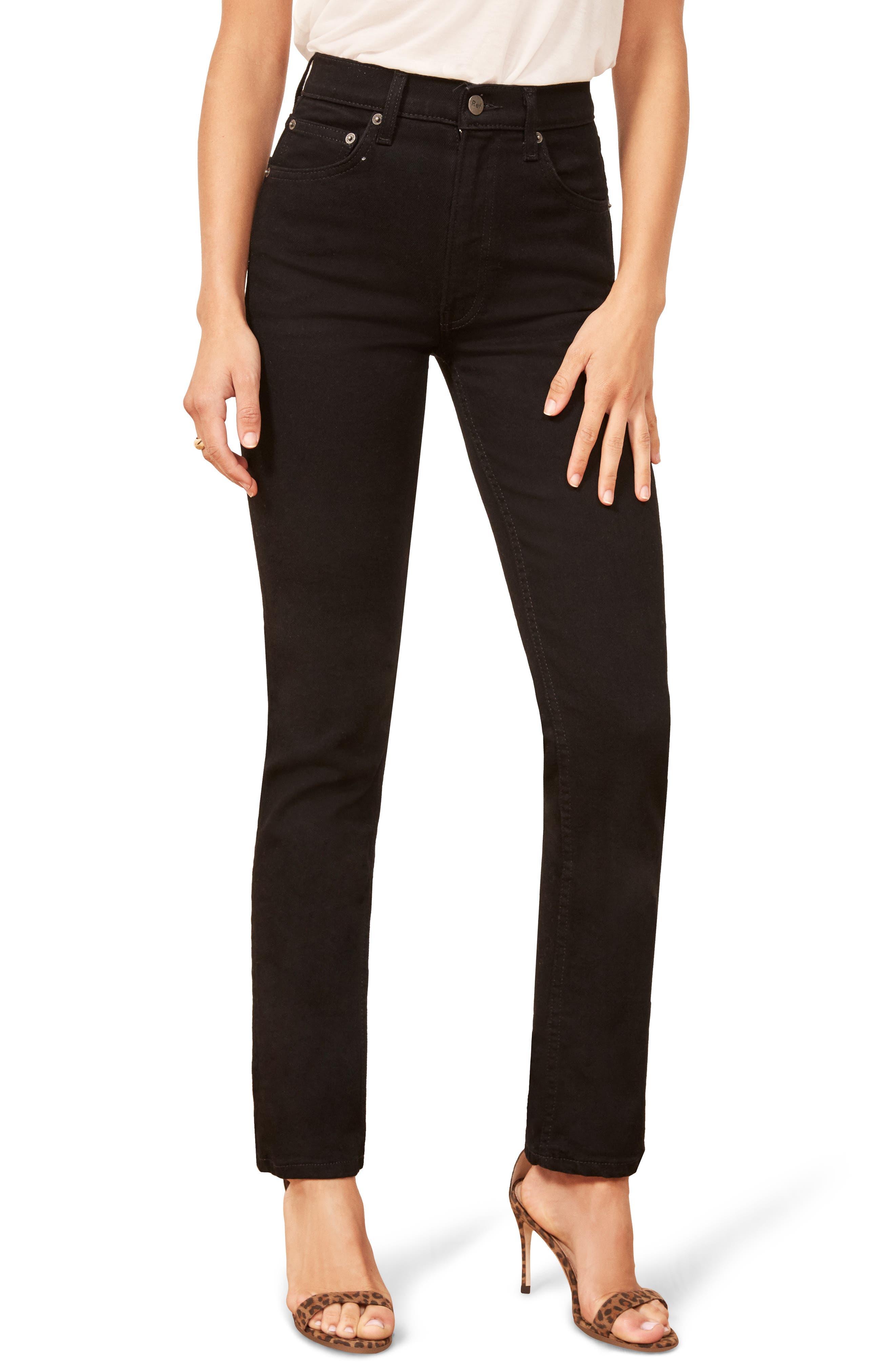 Liza High Waist Straight Leg Jeans,                         Main,                         color, BLACK