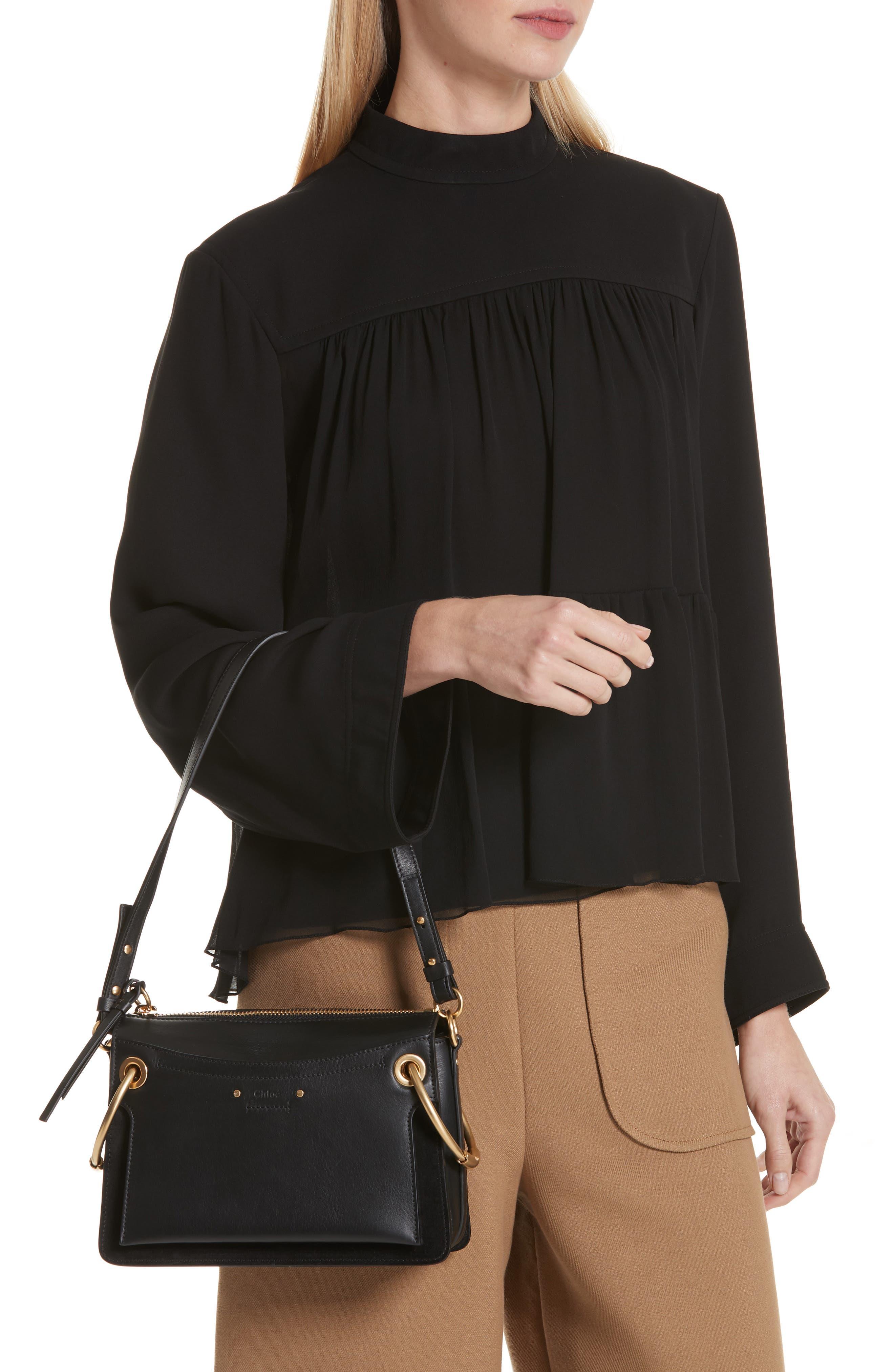 Small Roy Leather Shoulder Bag,                             Alternate thumbnail 2, color,                             BLACK