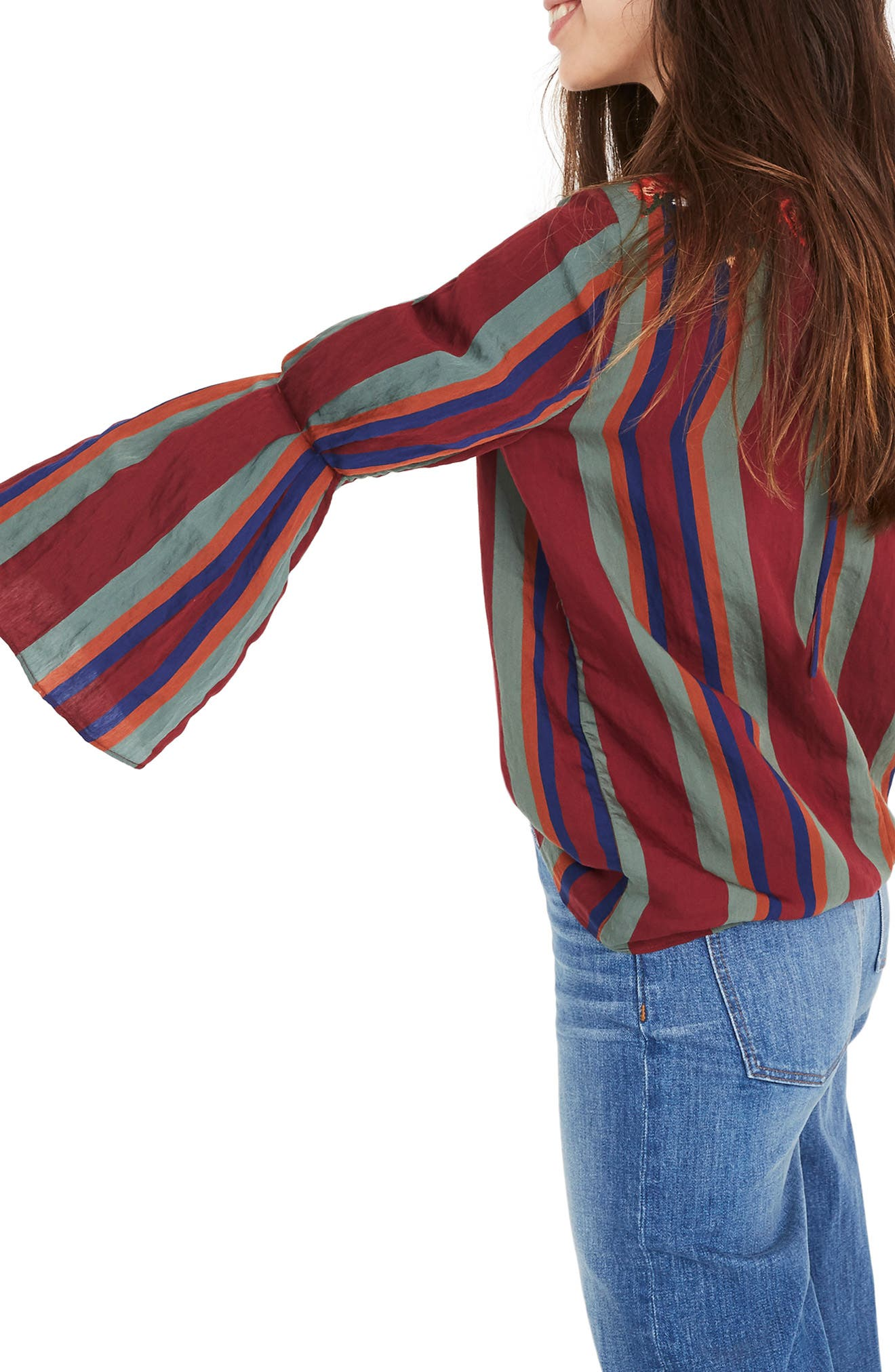 Embroidered Pleat Sleeve Top,                             Alternate thumbnail 3, color,                             930
