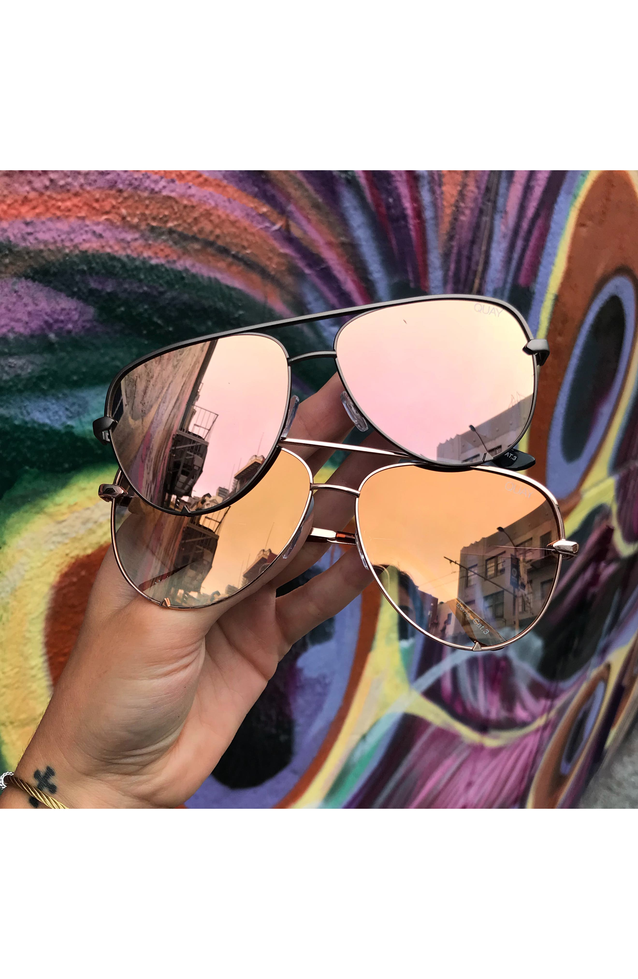 x Desi Perkins High Key Mini 57mm Aviator Sunglasses,                             Alternate thumbnail 4, color,                             GUNMETAL/ ROSE