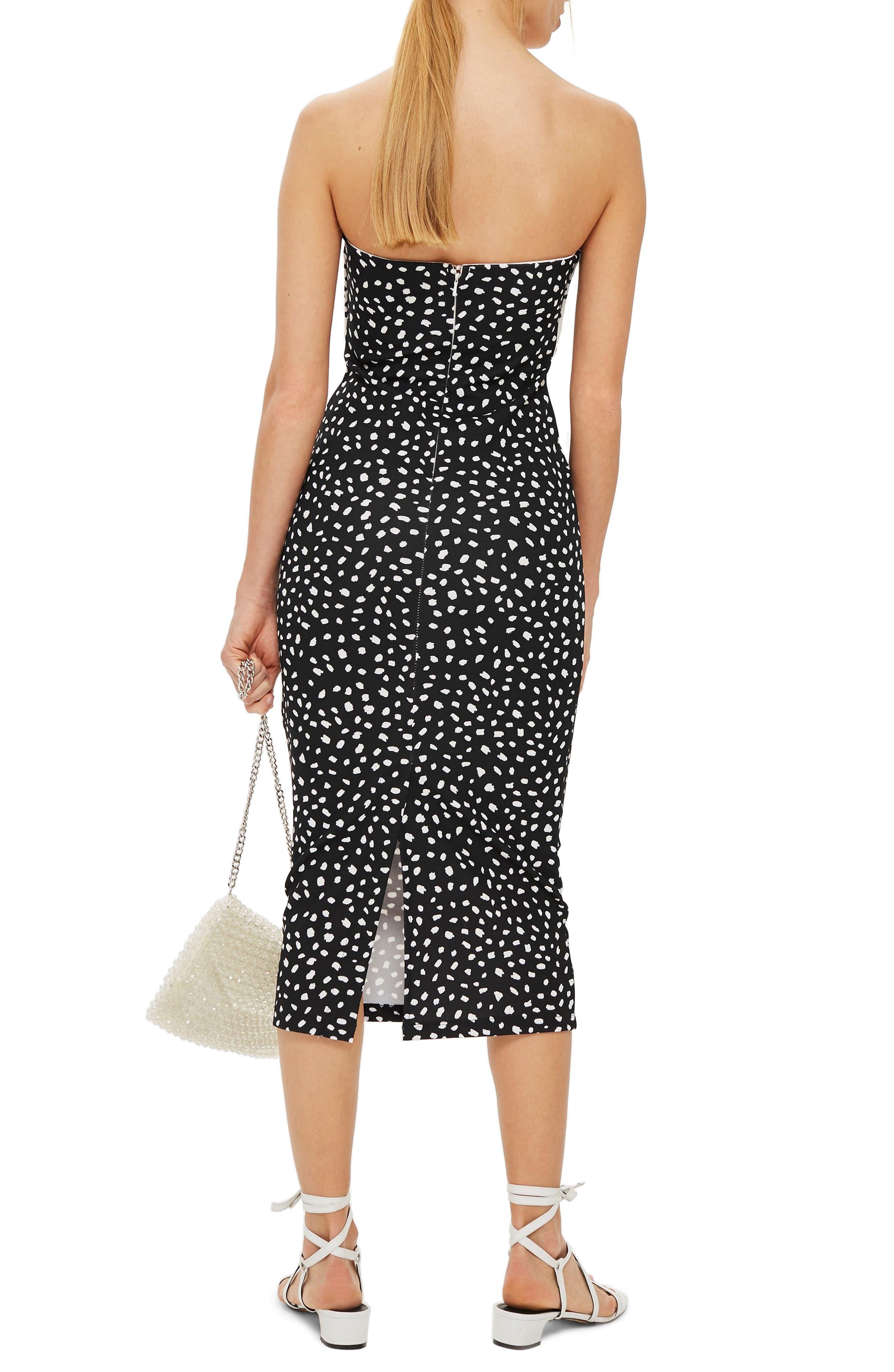 Bow Twist Midi Dress,                             Alternate thumbnail 2, color,                             BLACK MULTI