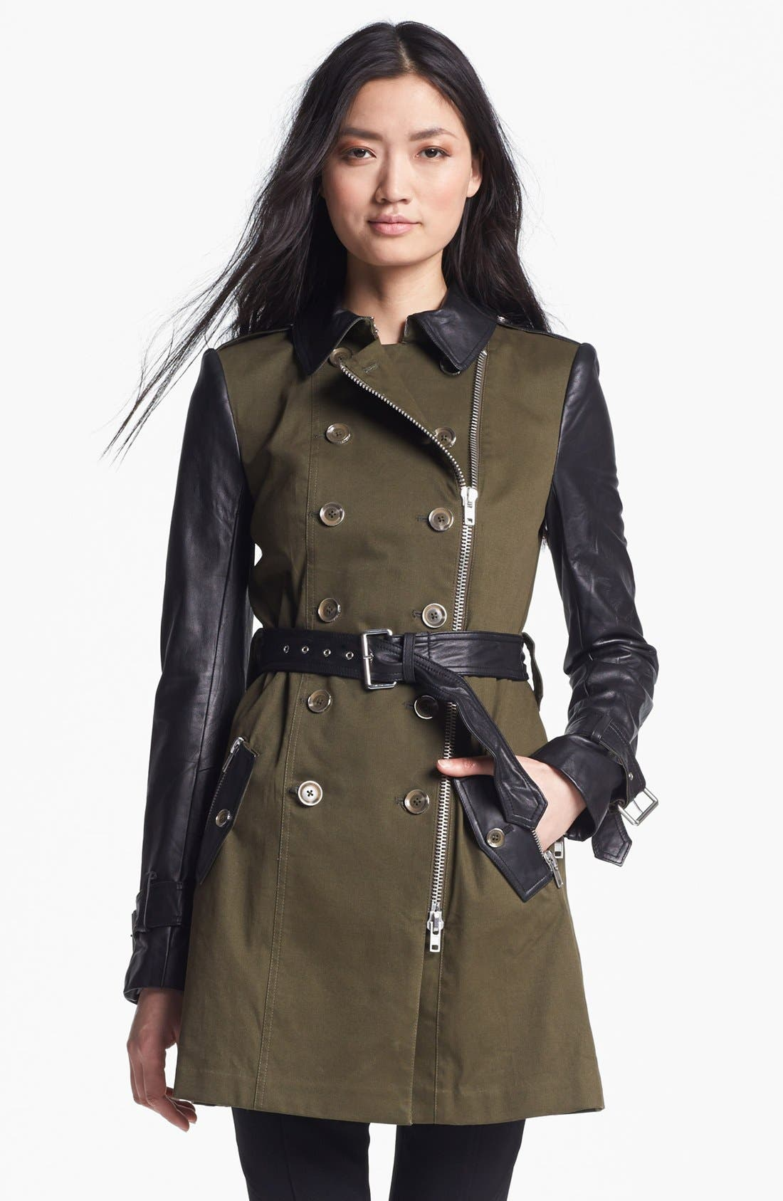 RACHEL ZOE Belted Double Breasted Trench Coat, Main, color, 340