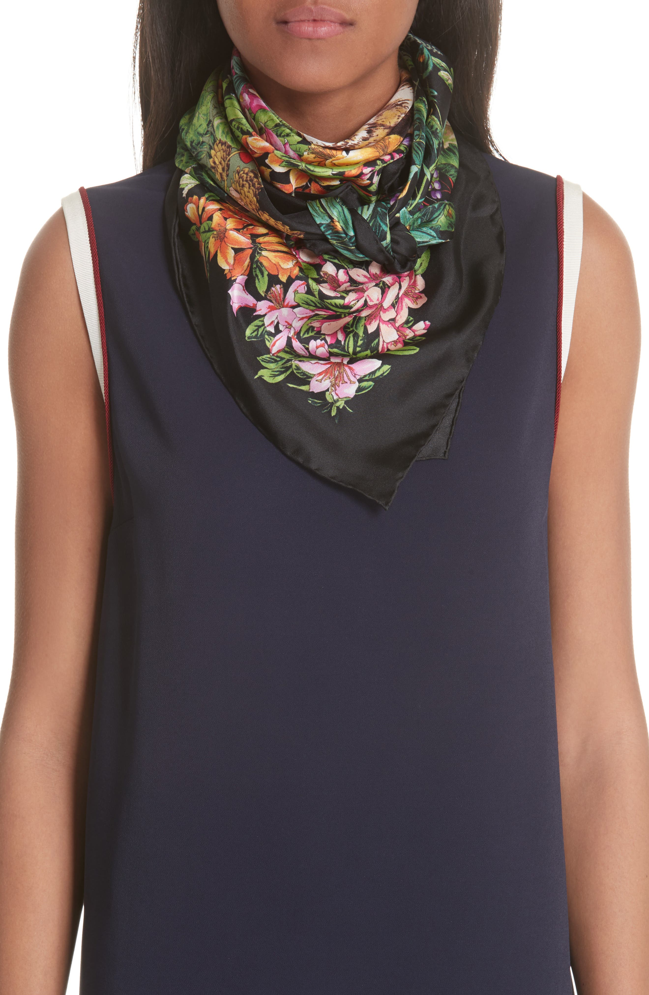 Flower Deer Foulard Silk Twill Scarf,                             Alternate thumbnail 2, color,                             BLACK/ MULTICOLOR